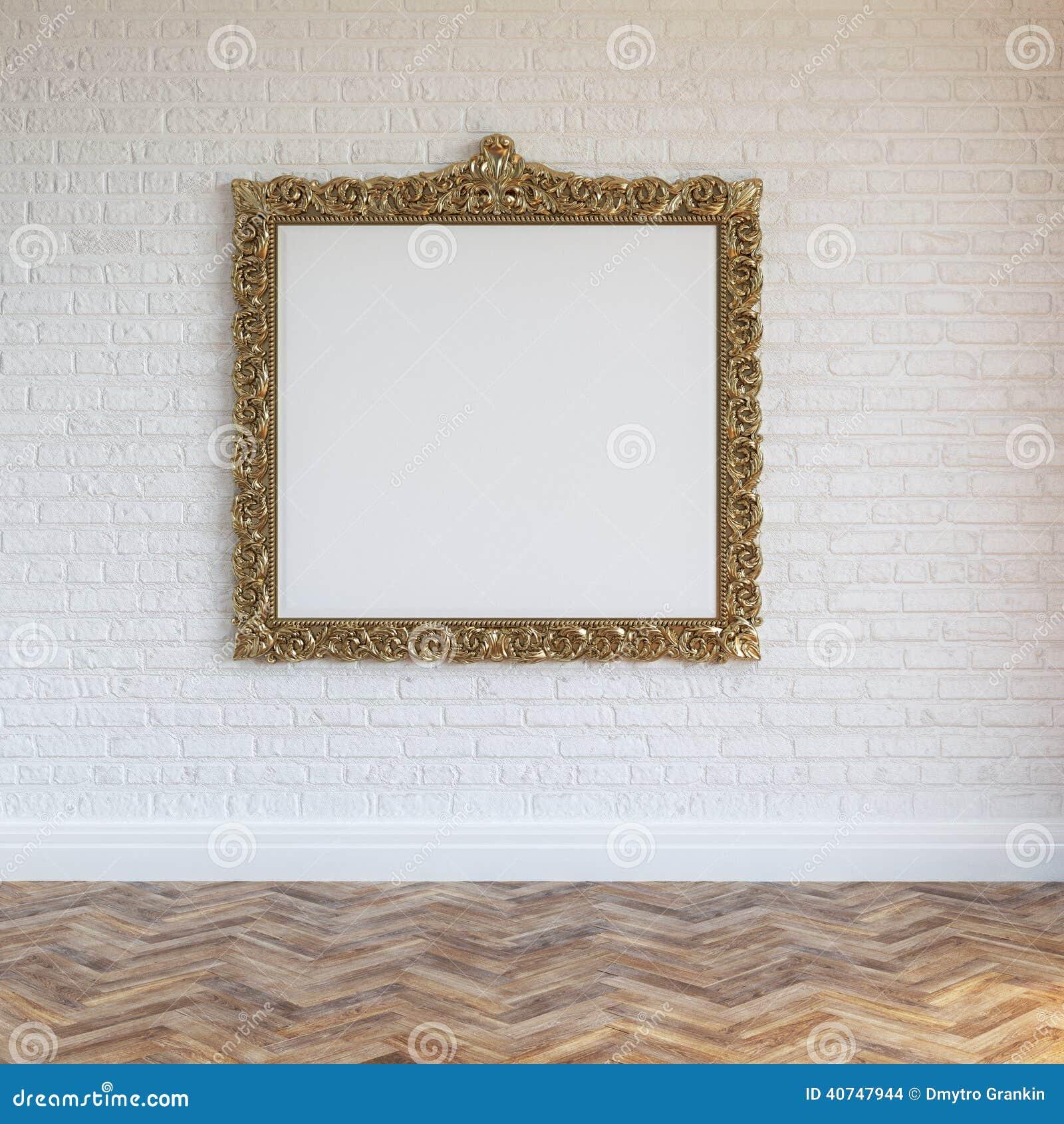 El blanco empareda el interior del ladrillo con el marco y la madera dura tallados de oro