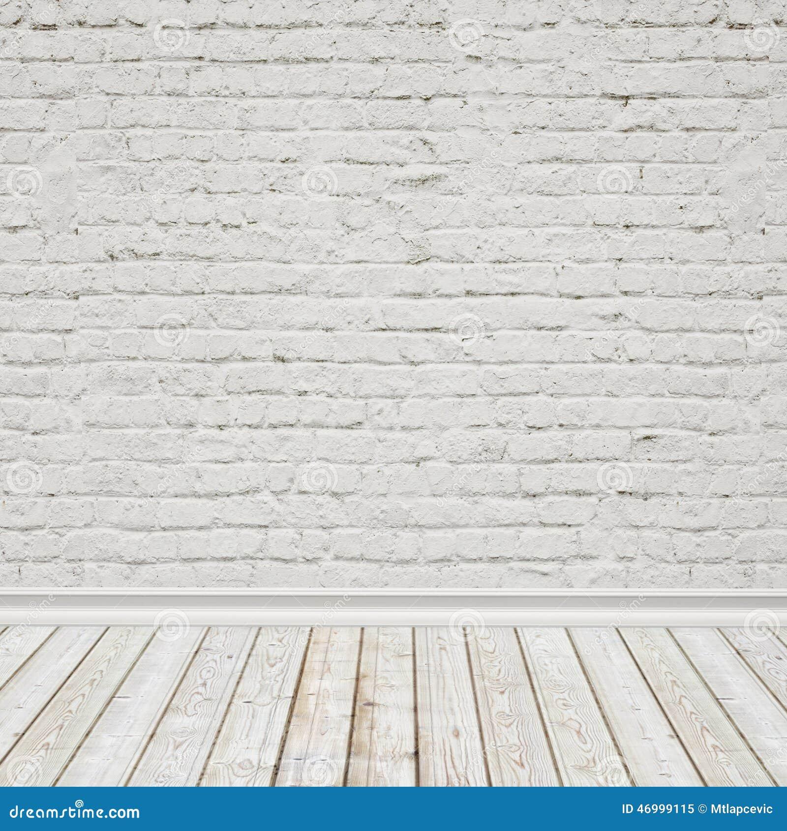 El blanco pintó la pared de ladrillo y el piso de madera del vintage, fondo interior