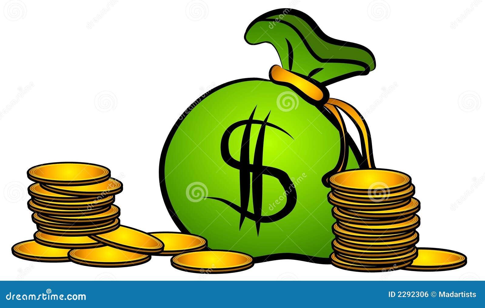 El bolso del dinero acuña arte de clip