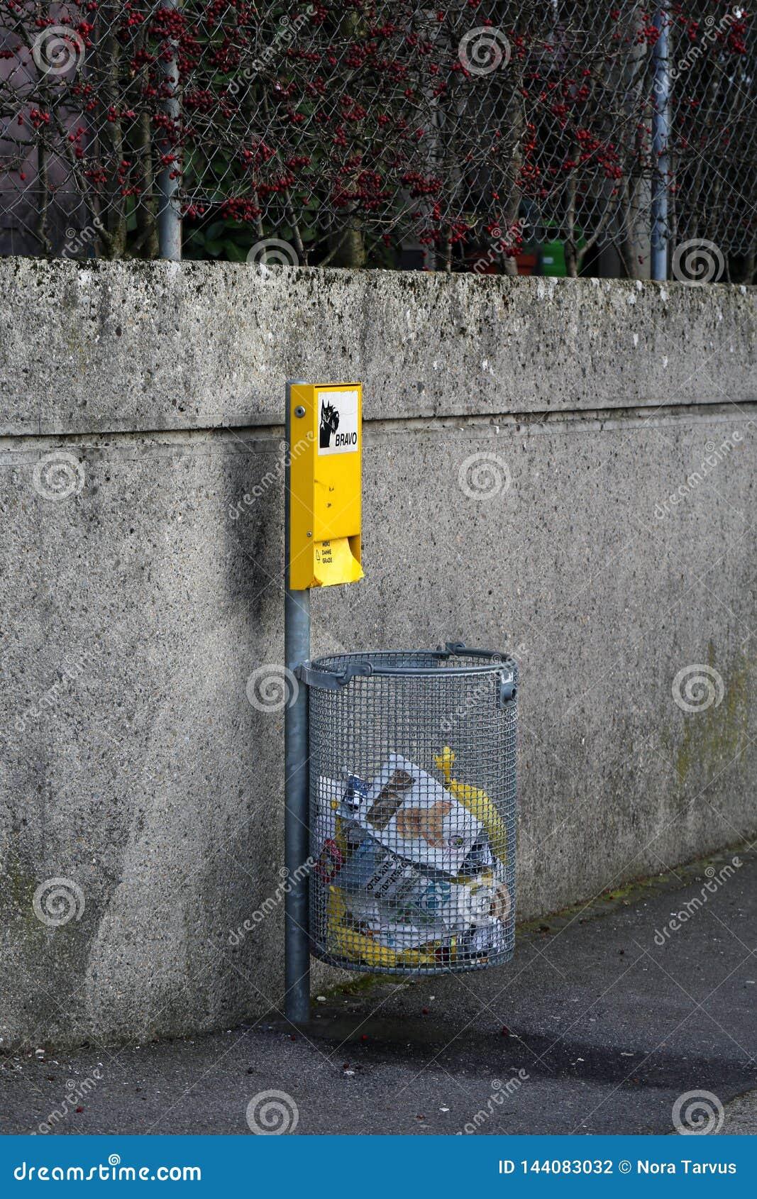 El bolso inútil del perro automatiza en Nyon, Suiza