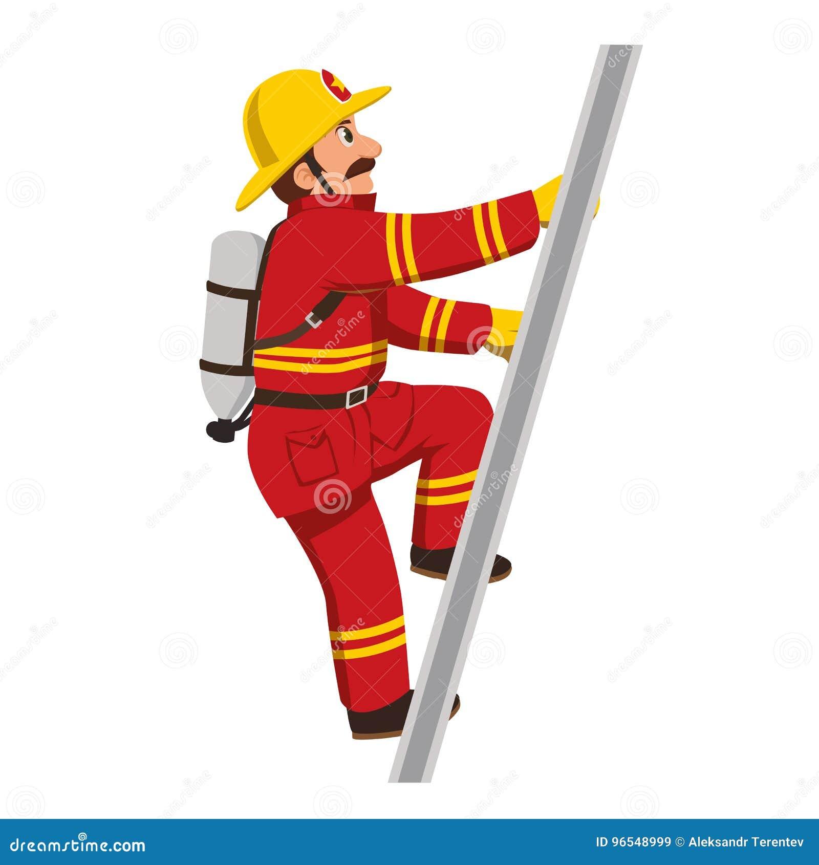 El bombero que sube las escaleras