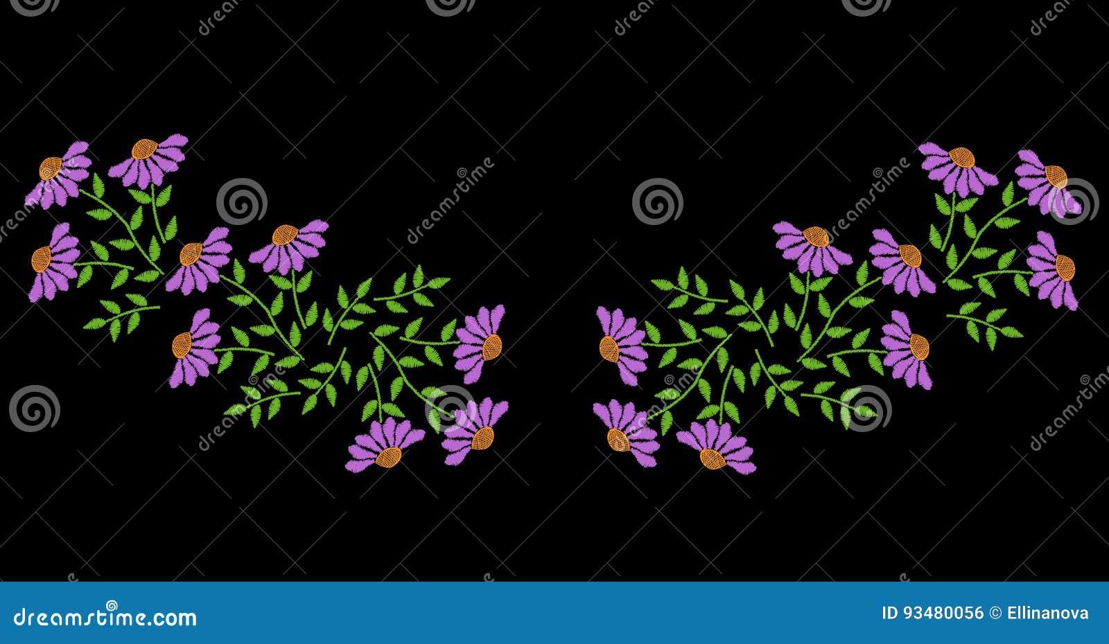 El bordado cose la flor popular de imitación y la hoja verde para el nec