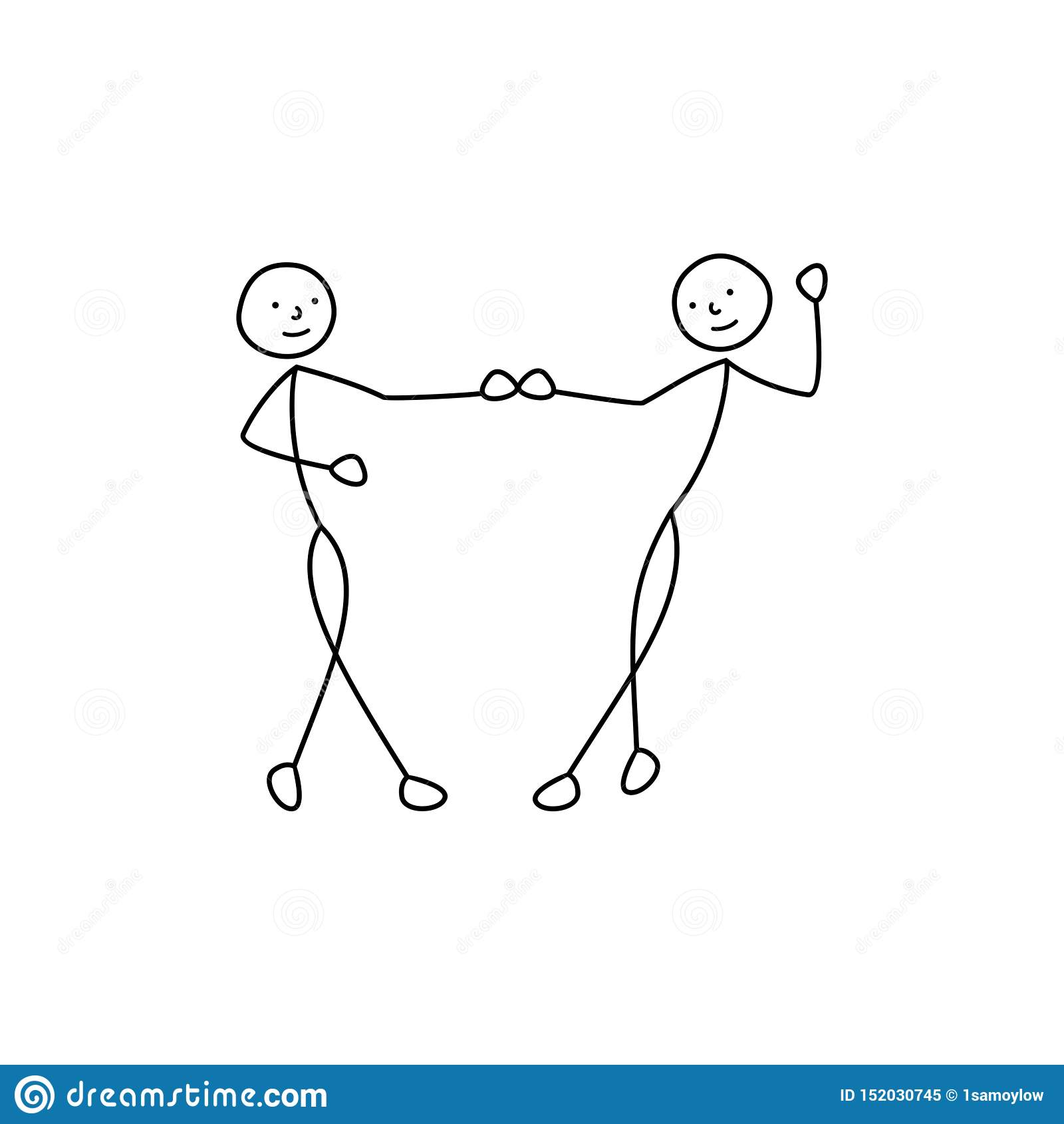 El bosquejo de baile de los pares, figura icono del hombre, gente del palillo lleva a cabo las manos