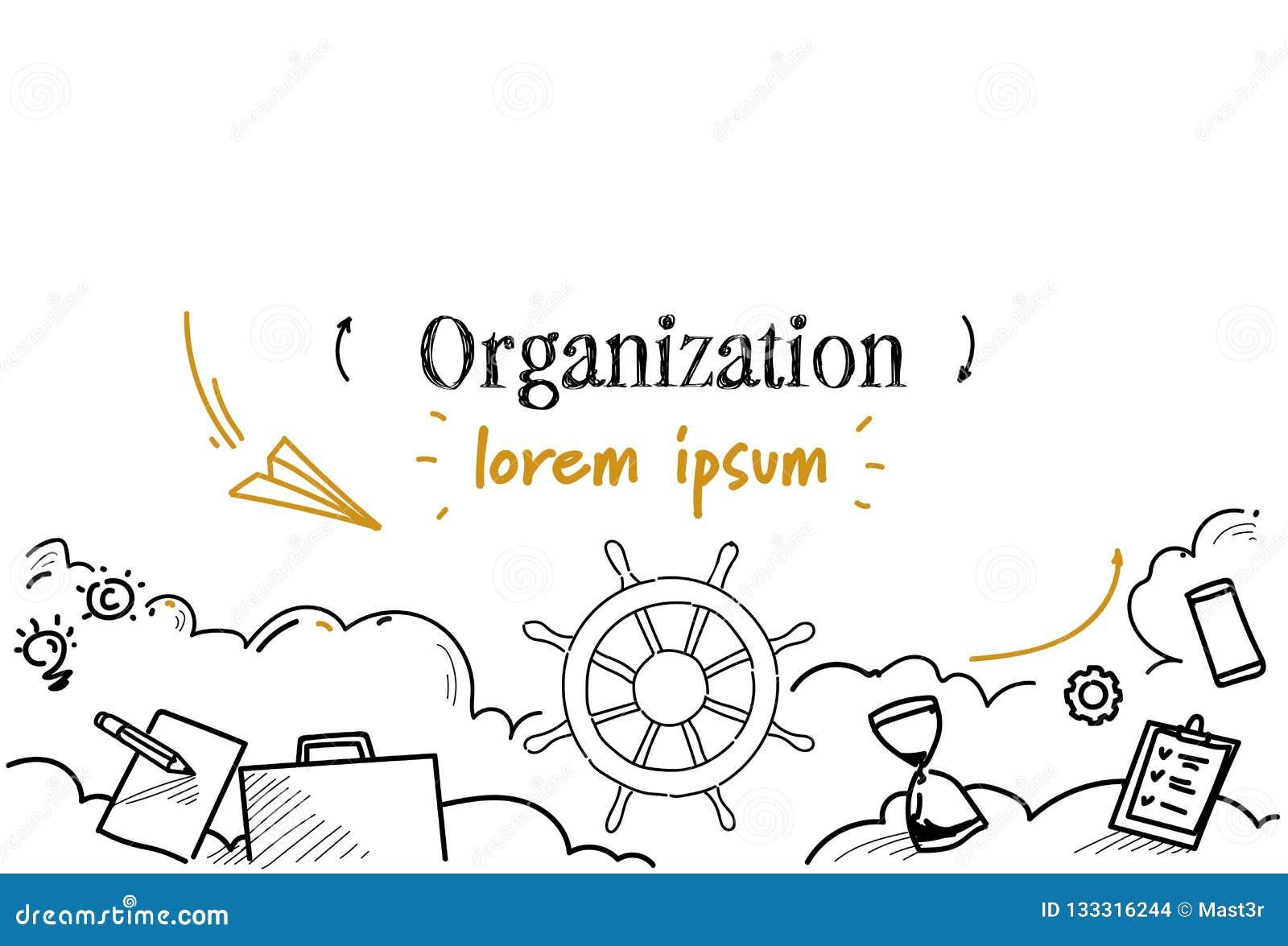 El bosquejo del concepto de la organización de la dirección del negocio del volante de la nave garabatea el espacio aislado horiz