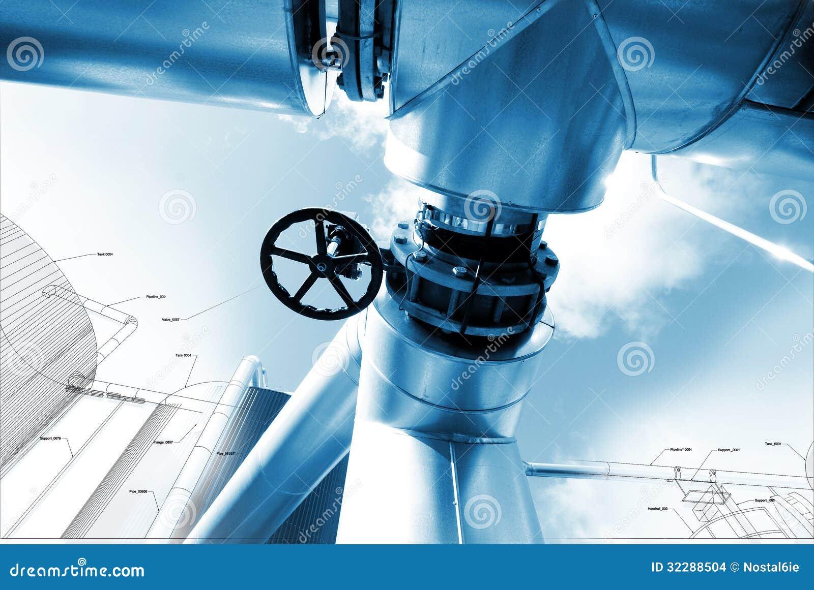 El bosquejo del diseño de la tubería se mezcló con las fotos del equipo industrial