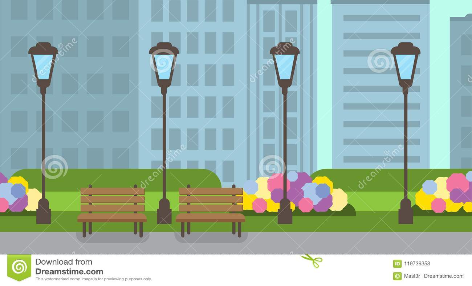 El césped del verde de la lámpara de calle del banco de madera del parque de la ciudad florece la bandera plana del fondo del pai