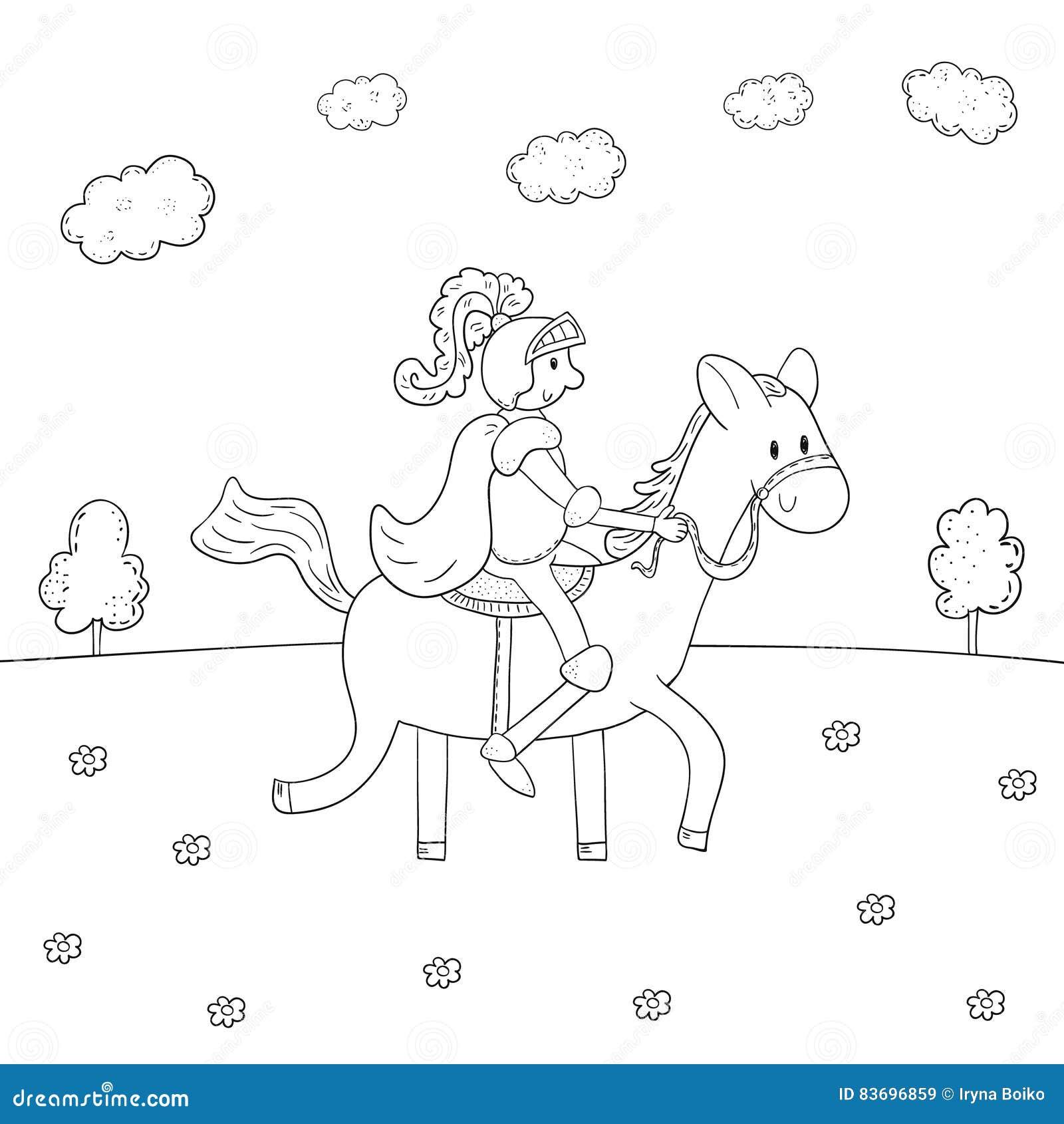El Caballero Del Libro De Colorear Diseña A Caballo Para Los Niños ...