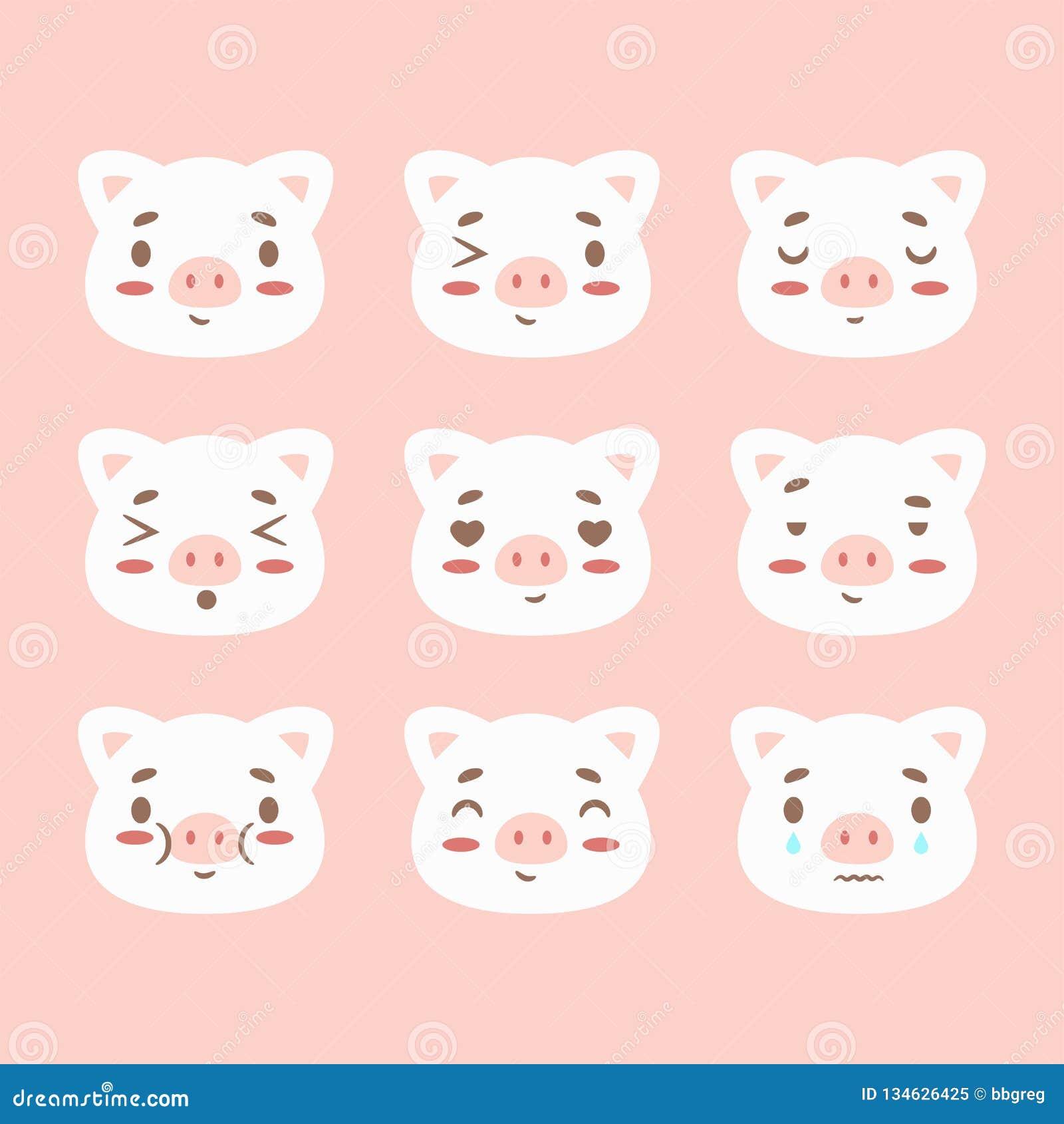 El calendario chino feliz 2019 de la muestra del zodiaco del Año Nuevo con el emoji del cerdo, emoticons pica el cochinillo diver