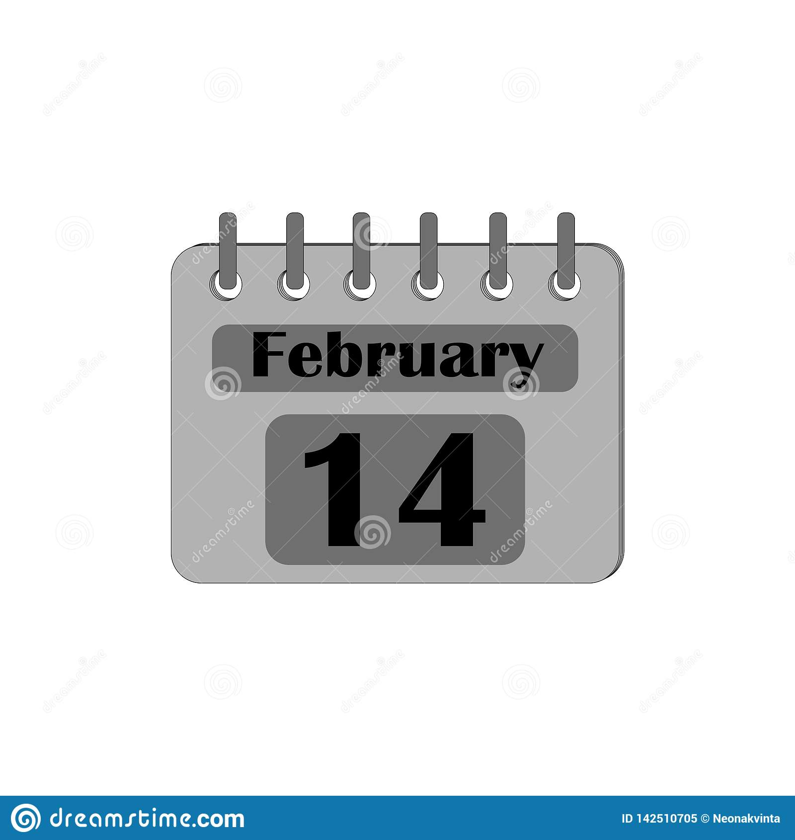 El calendario con la fecha del 14 de febrero es gris aislado en un fondo blanco