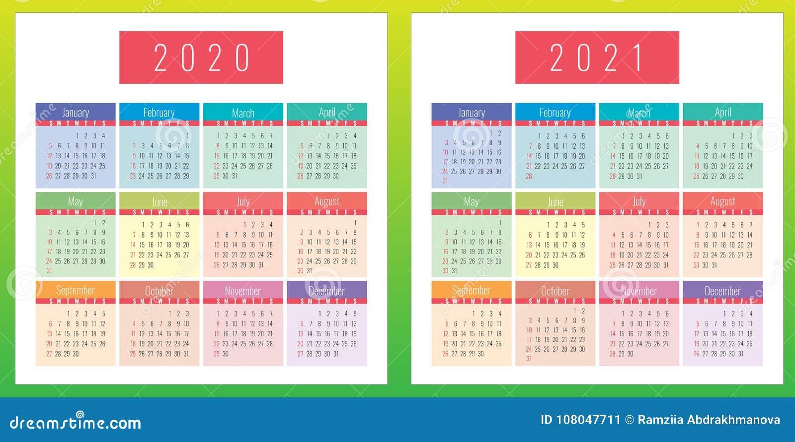 El Calendario Del Color Fijó 2020 Y 2021 Años Stock de ilustración