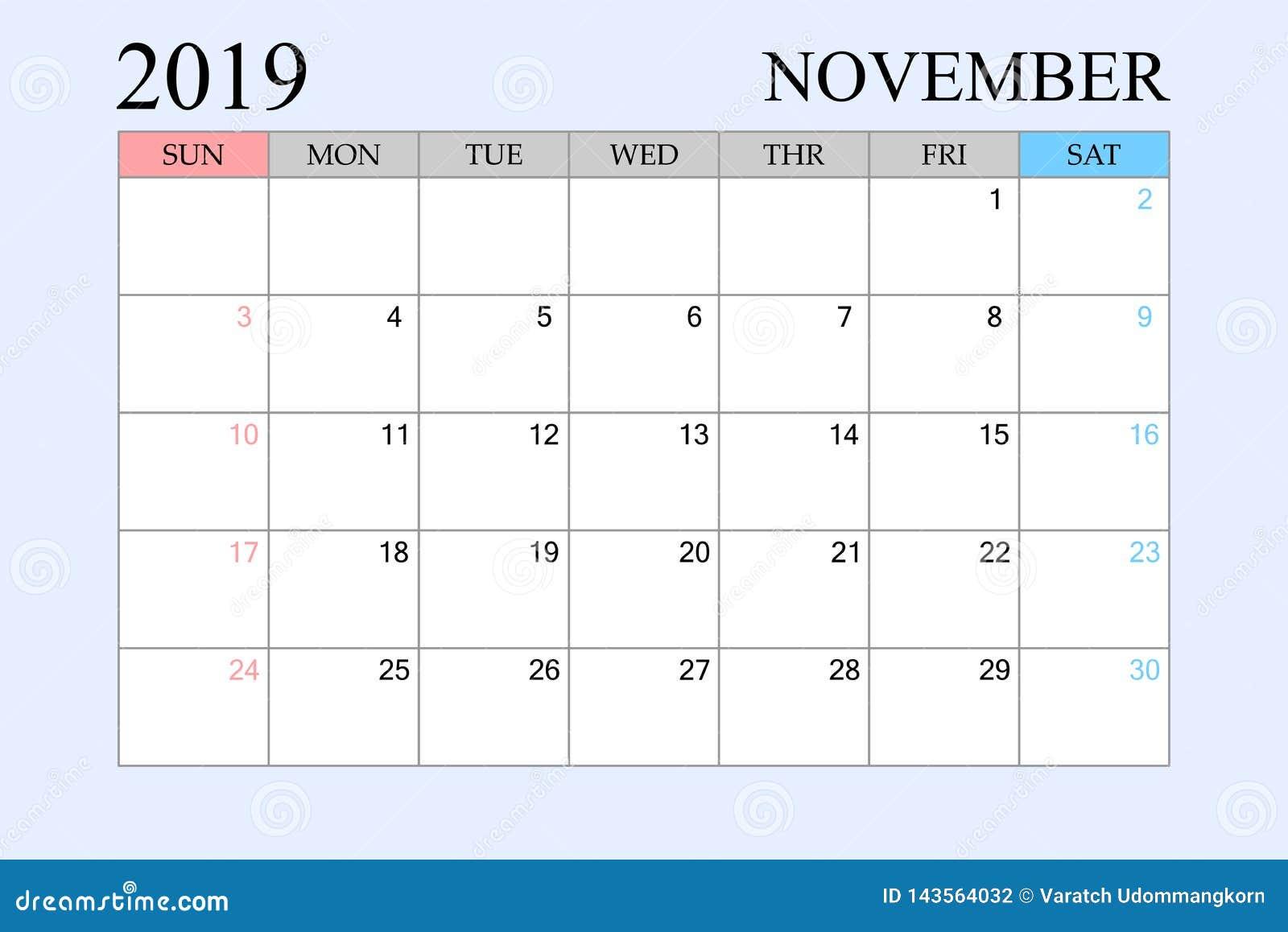 Calendario Noviembre 2019.2019 El Calendario Noviembre Planificador Del Horario Organizador