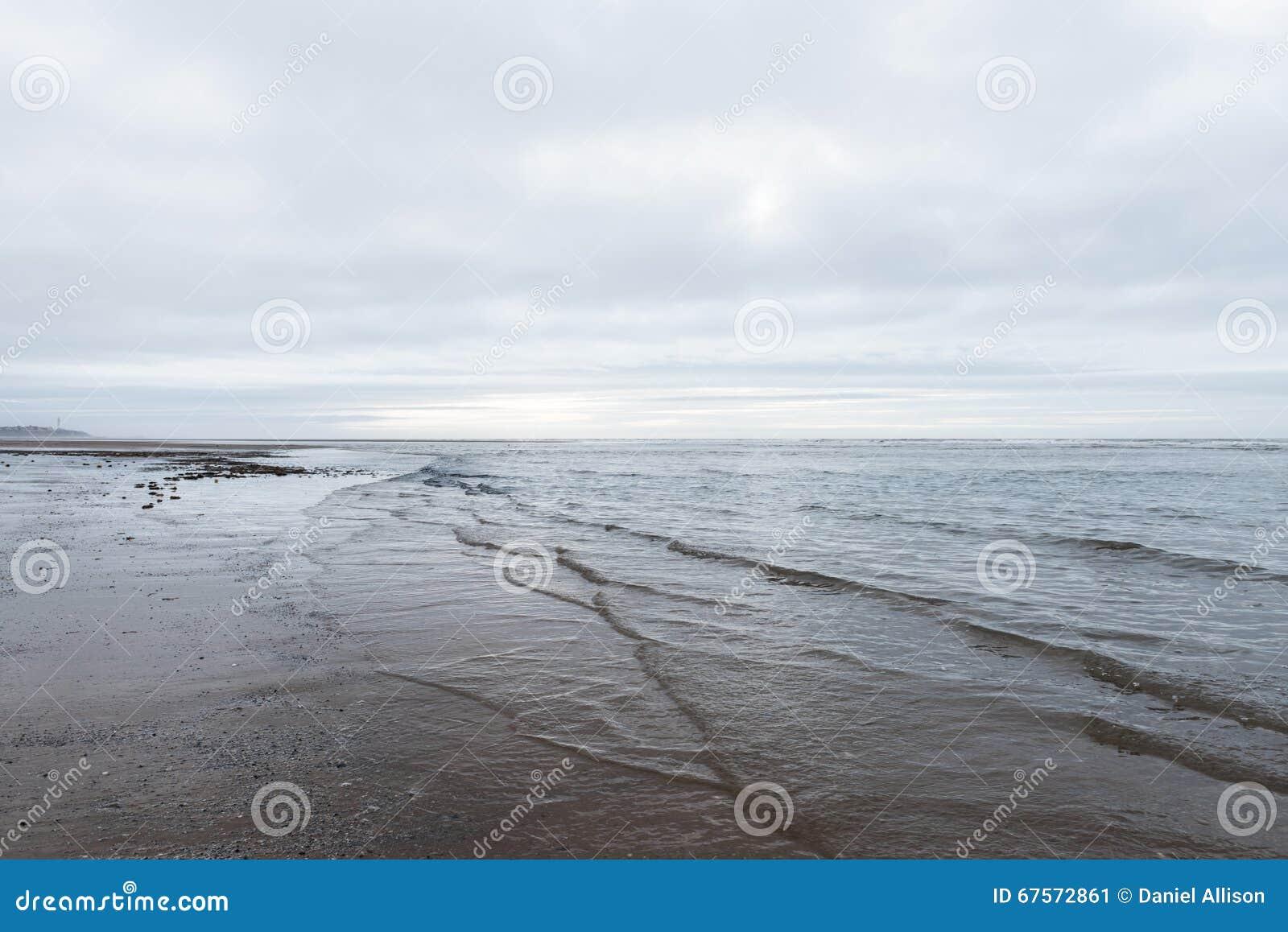 El calmar relajante y apacible agita fluir en una playa en un día cubierto melancólico