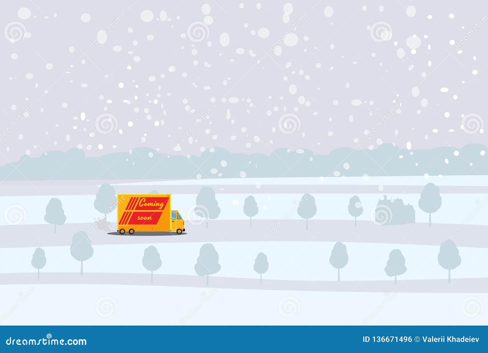 El camión de reparto monta en el camino nevado, el concepto, rápidamente y la entrega conveniente del cargo y de los paquetes Mer