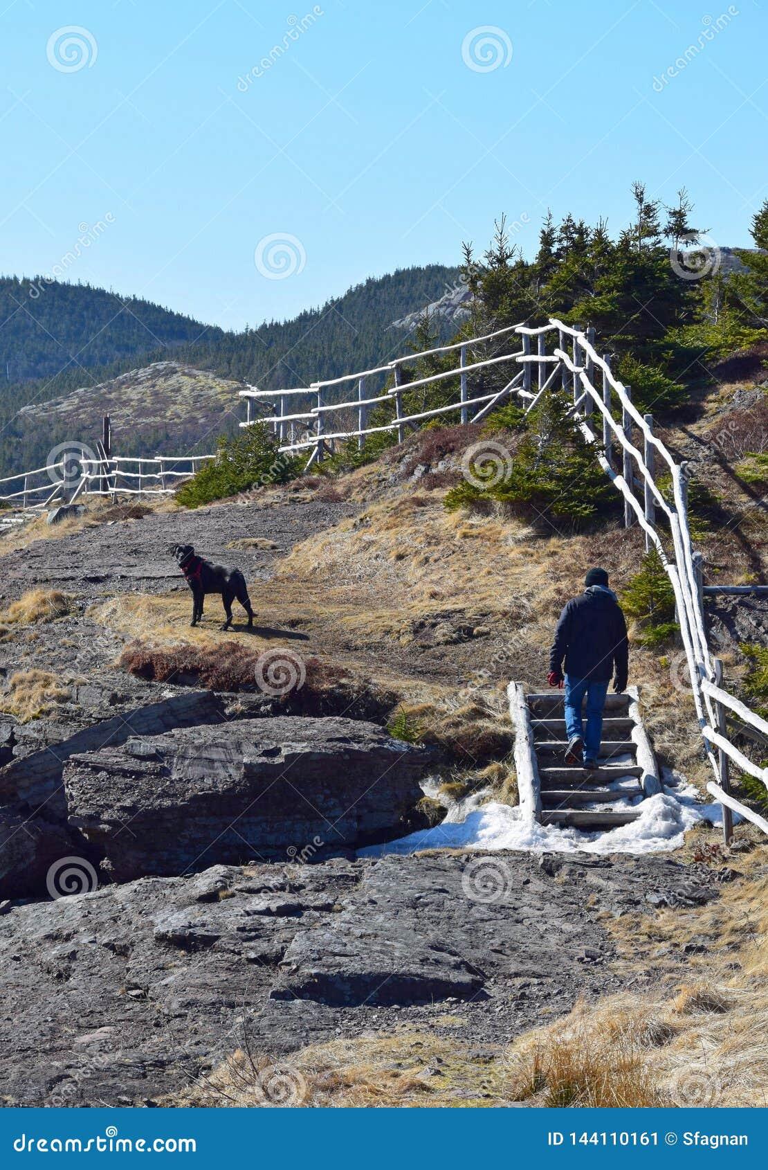 El caminar del rastro de la costa este del hombre y del perro