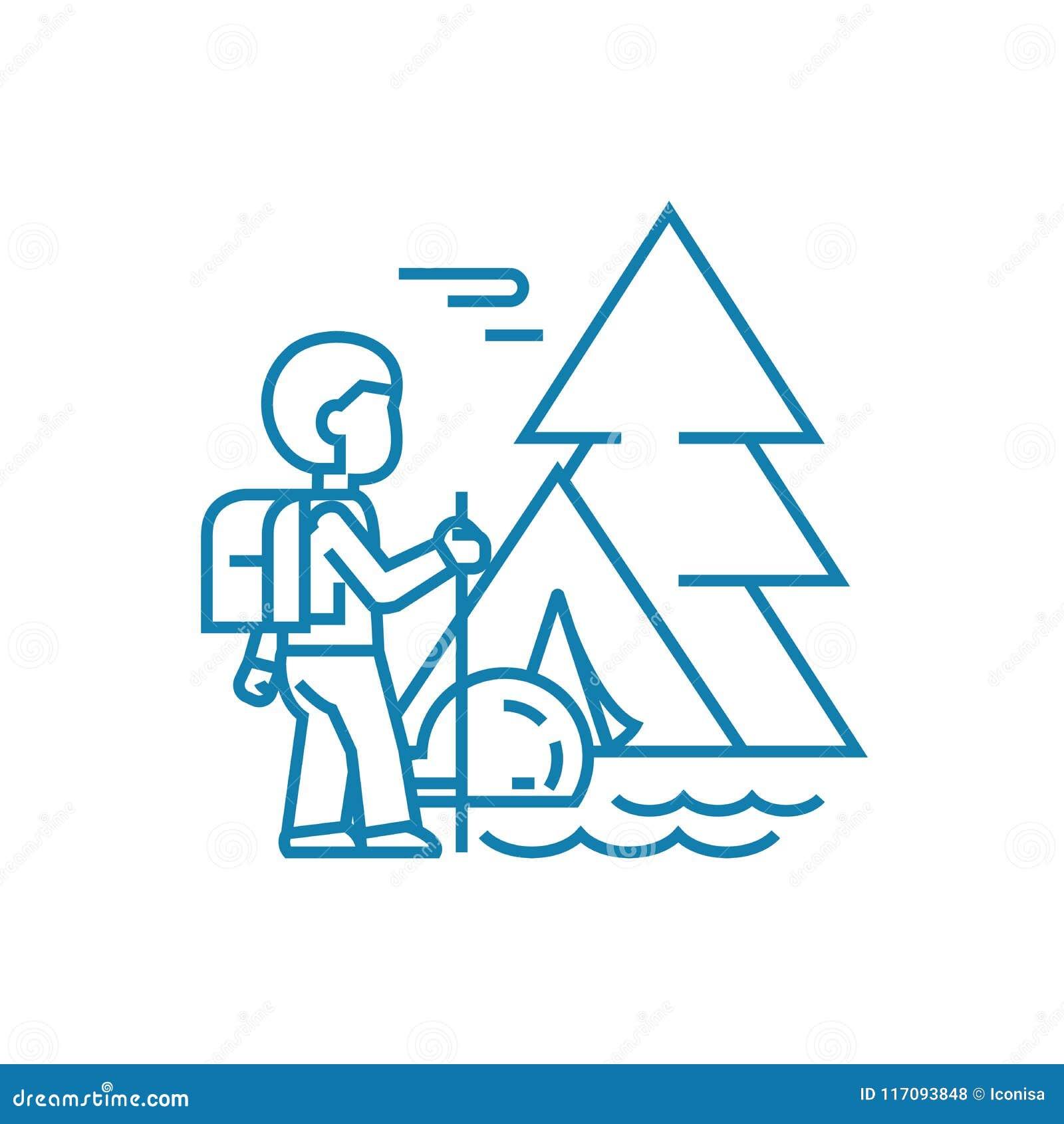 El caminar en el concepto linear del icono de las montañas Caminando en las montañas alinee la muestra del vector, símbolo, ejemp