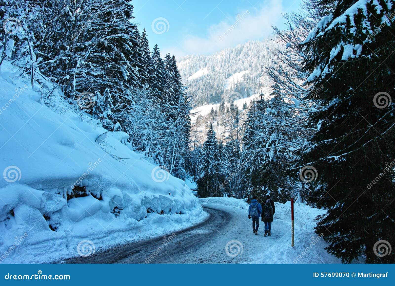 El caminar en el camino resbaladizo en paisaje alpino nevoso