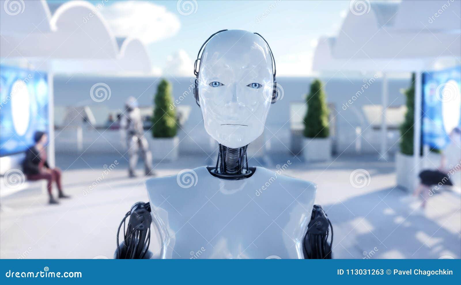 El caminar femenino del robot Estación de Sci fi Transporte futurista del monorrail Concepto de futuro Gente y robots representac