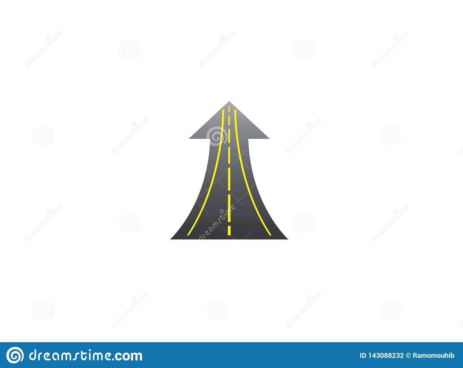 El camino recto entra para arriba en flecha a la manera del éxito con las líneas amarillas para el diseño del logotipo