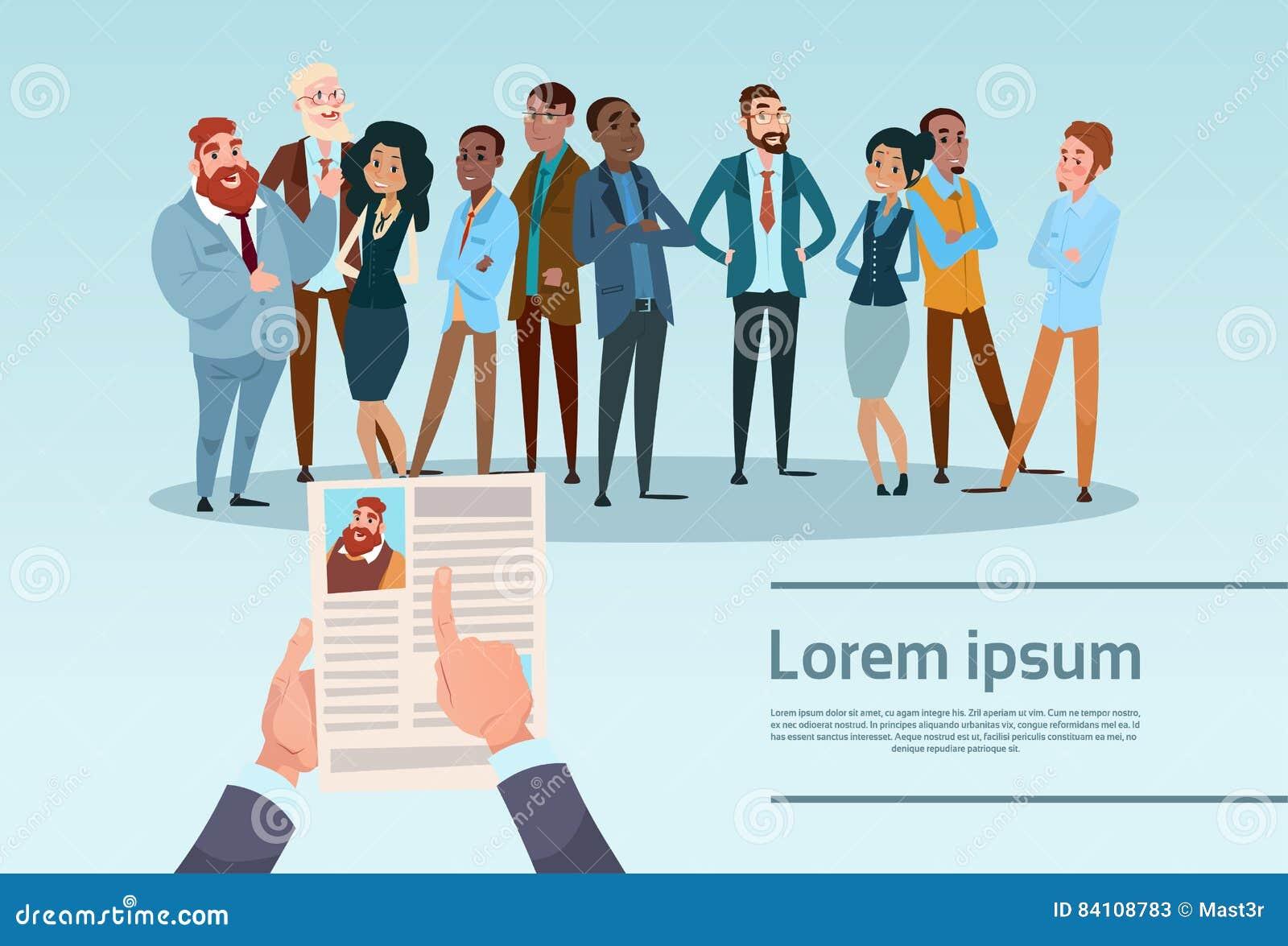 El candidato Job Position, perfil del reclutamiento del curriculum vitae del CV del control de las manos elige a hombres de negoc