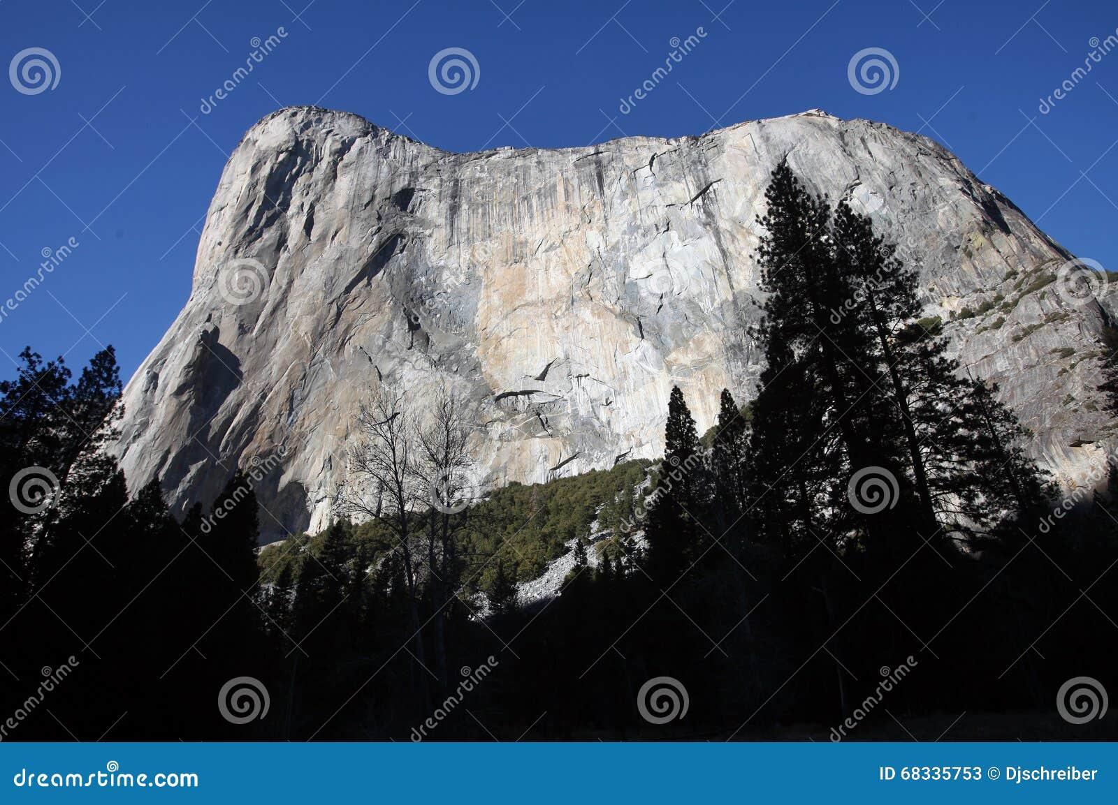 el capitan granite cliff face, yosemite national park stock image