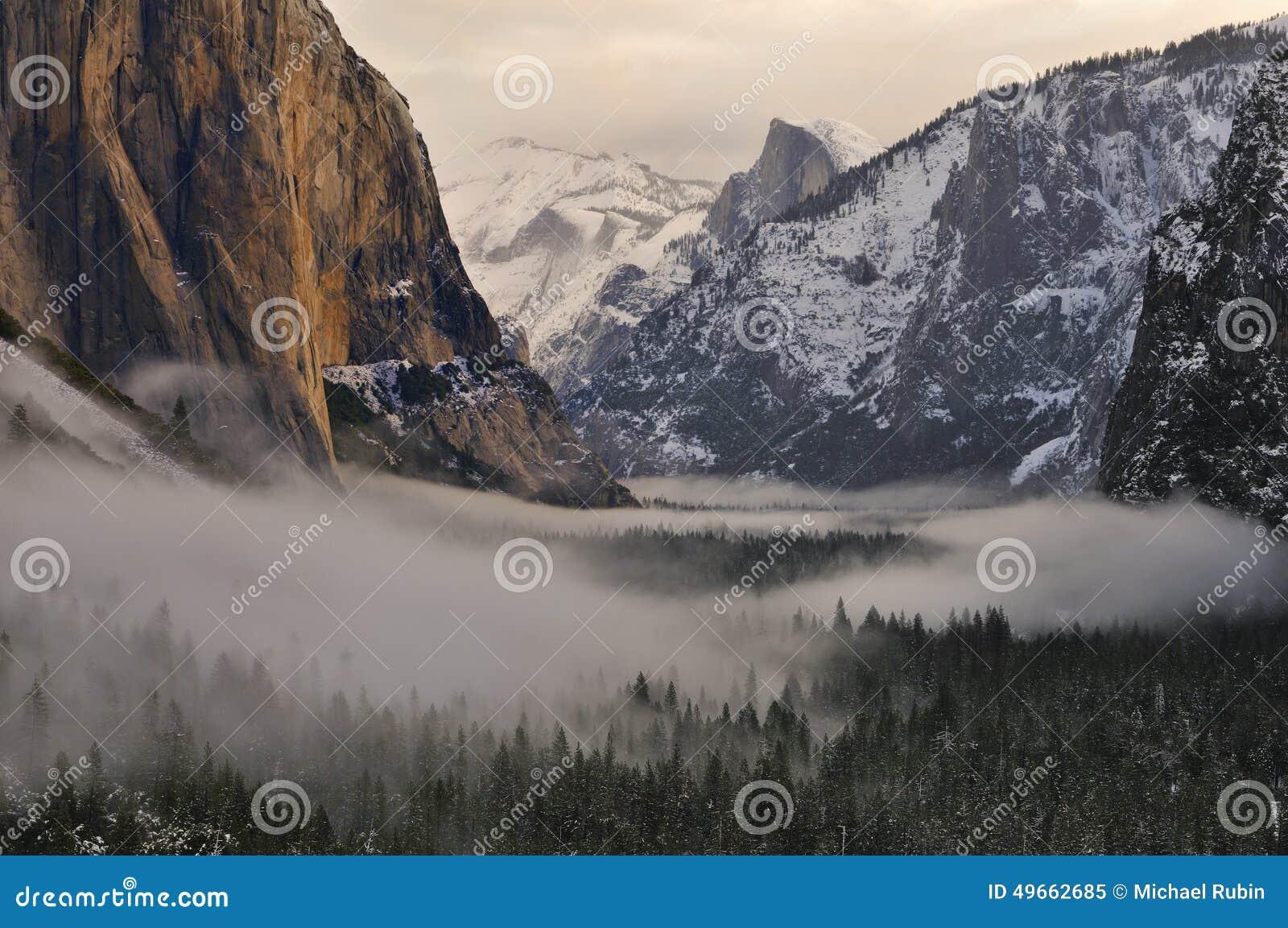 el capitan and half dome over foggy valley, yosemite national park