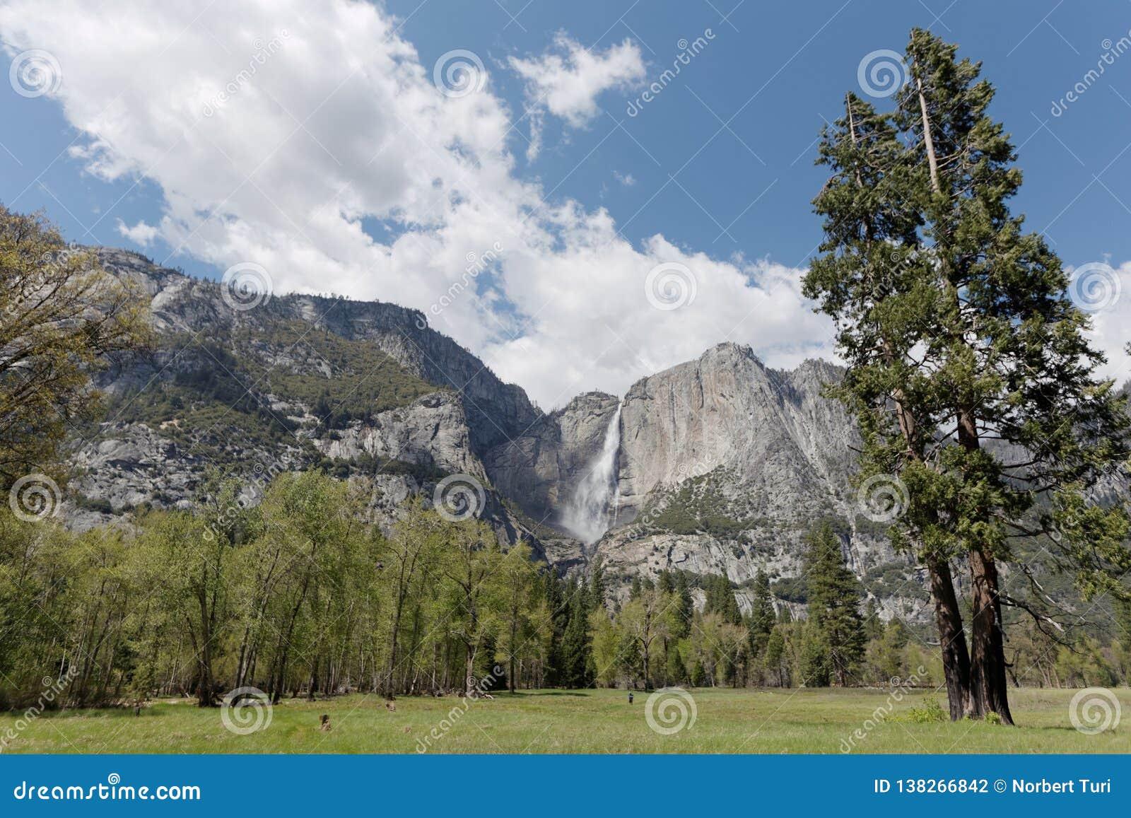 El Capitan and waterfall in Yosemite