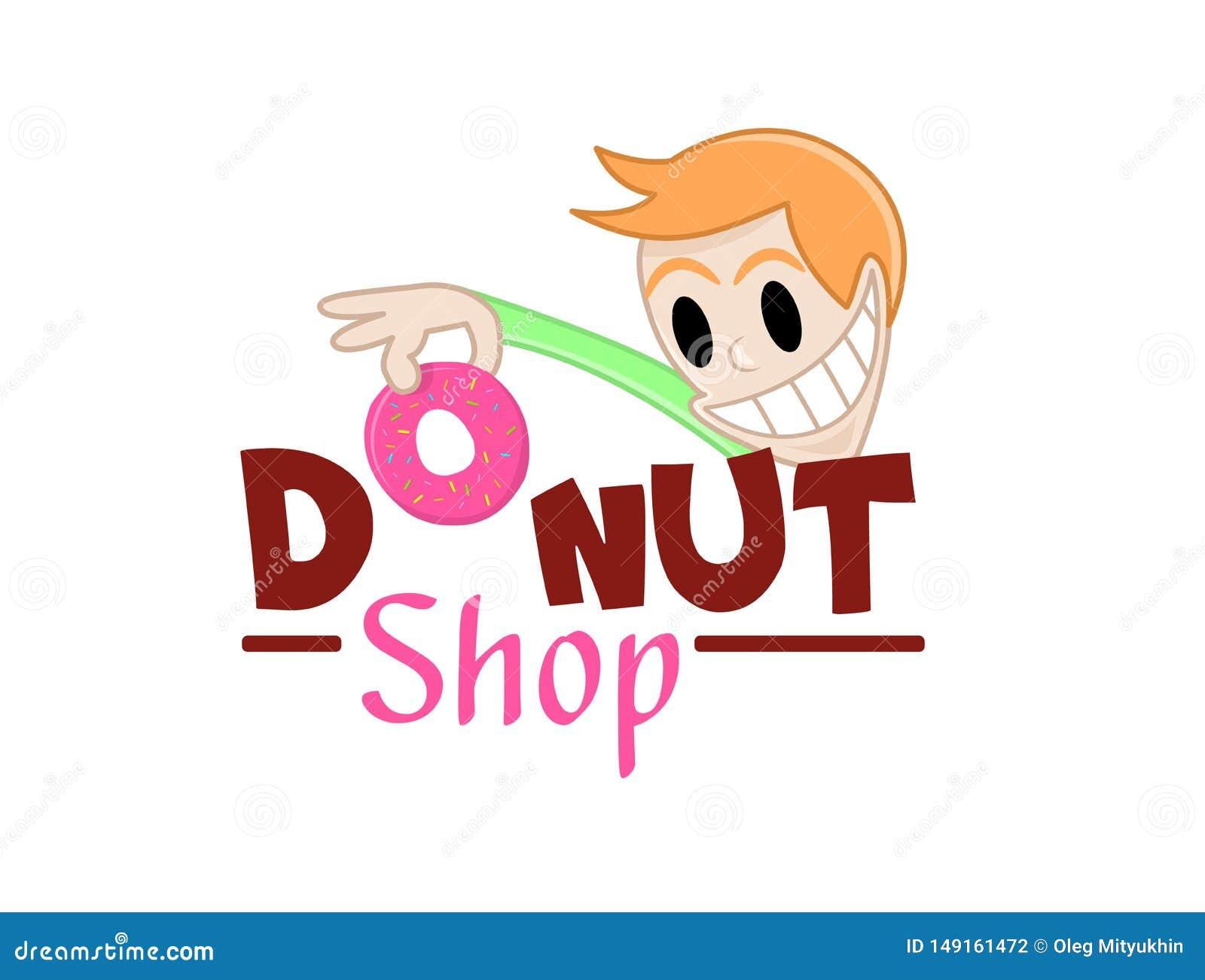 El carácter divertido toma un buñuelo El ejemplo del vector de anillos de espuma dulces deliciosos hace compras icono del logotip