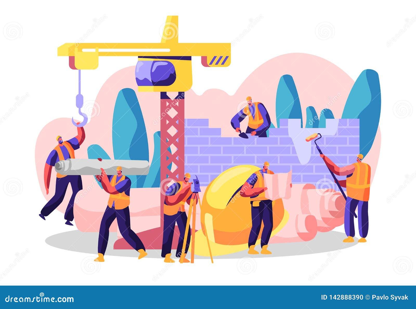 El car?cter profesional construye la nueva construcci?n, analiza plan y el lugar, construye la residencia, el centro de negocios