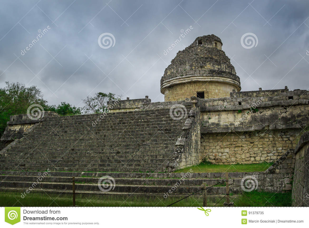 The `El Caracol` observatory temple in Chichen Itza complex