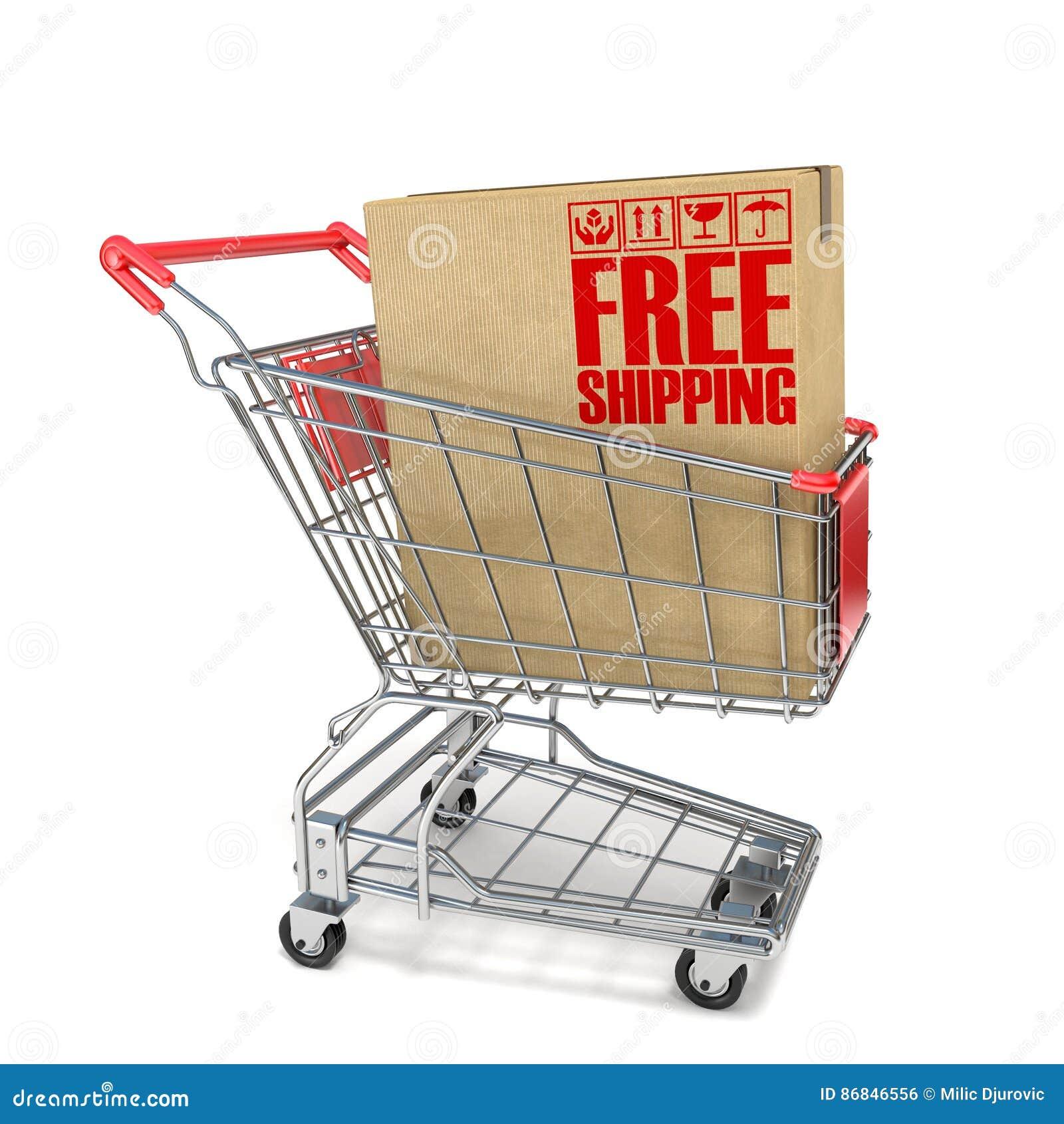 fea9f72be El carro de la compra rojo con la caja de cartón y el envío gratis firman