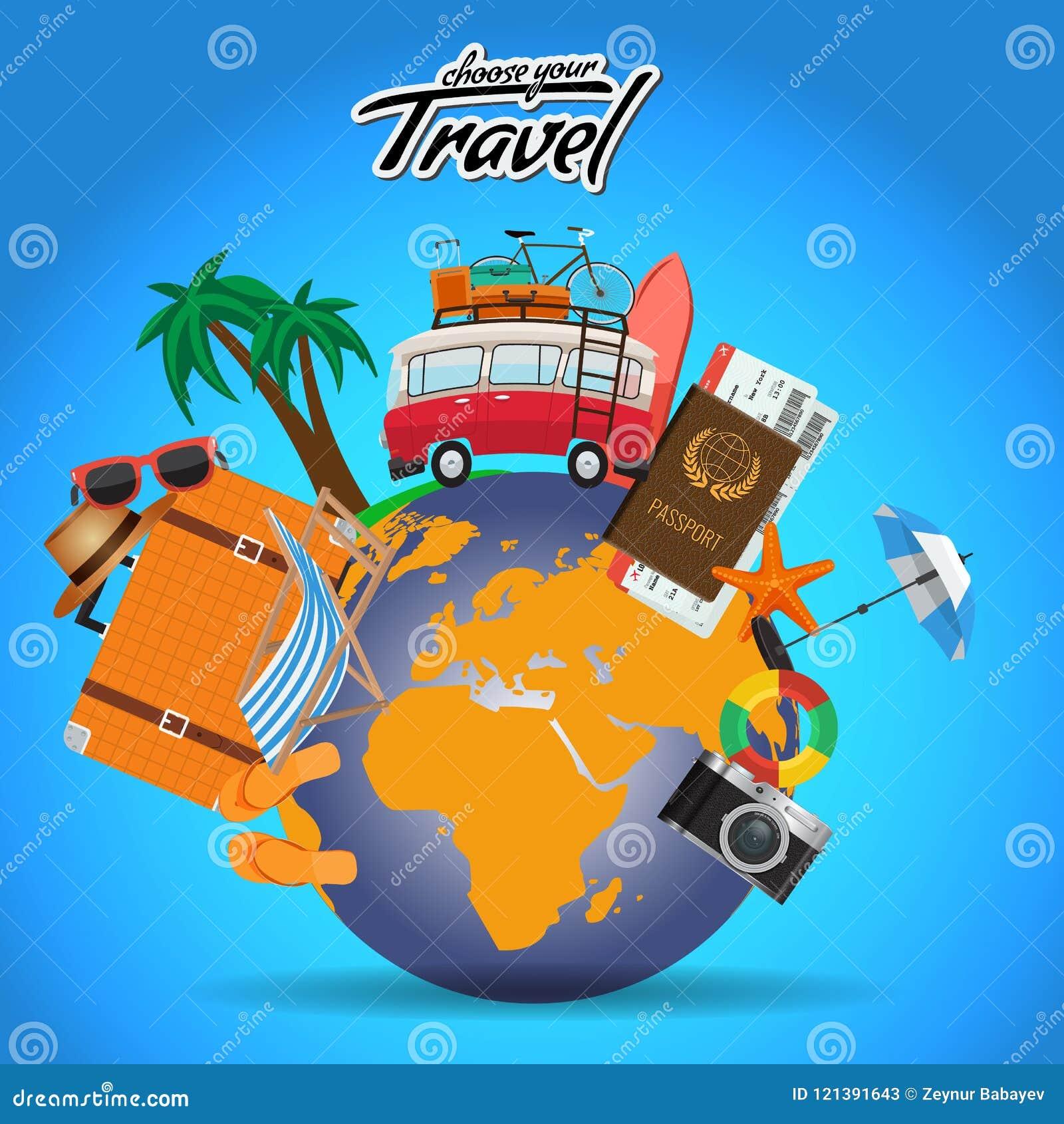 El cartel del viaje y del viaje diseña en todo el mundo con los elementos del verano Plantilla de la disposición de publicidad de