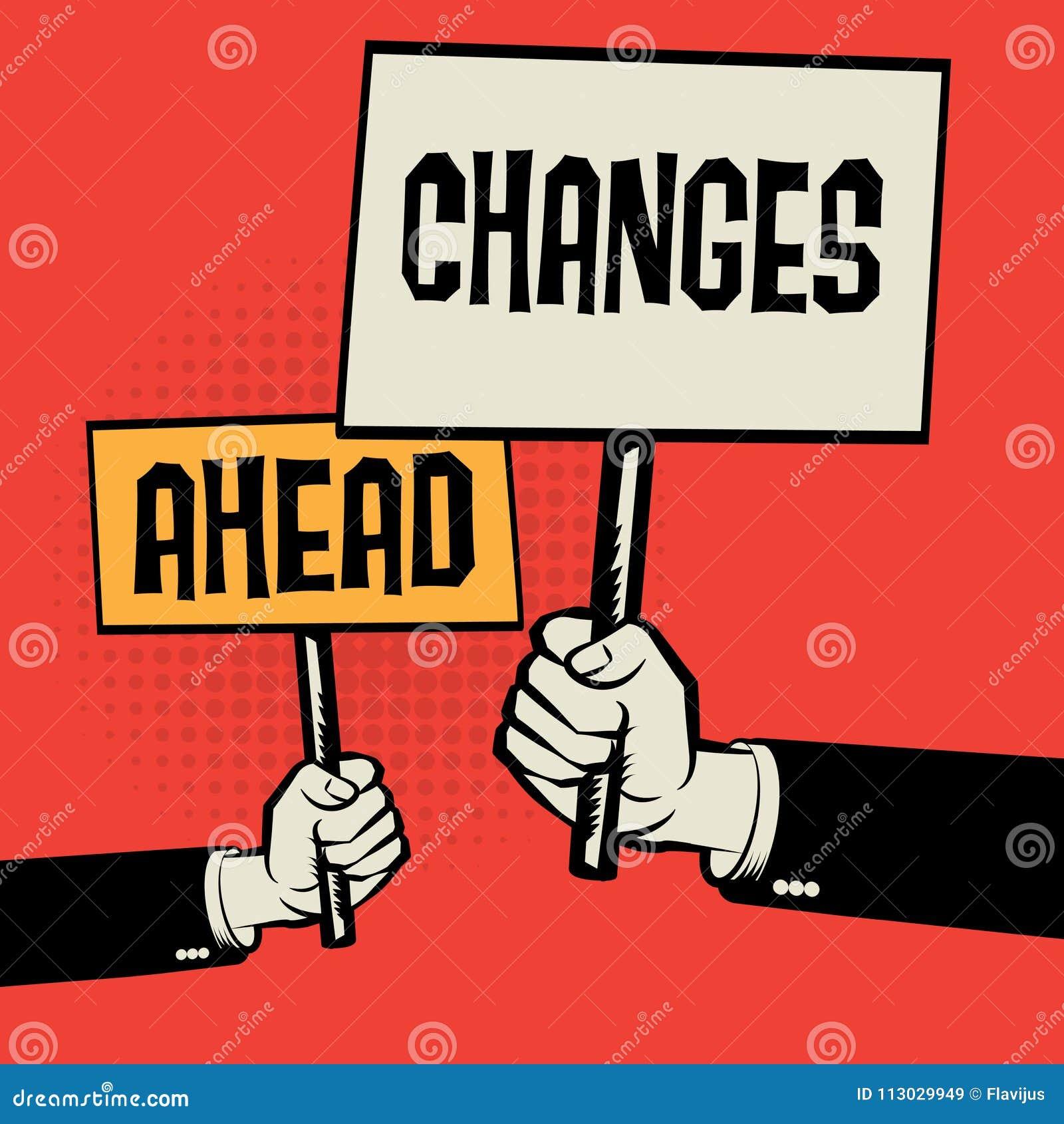 El cartel a disposición, concepto del negocio con el texto cambia a continuación