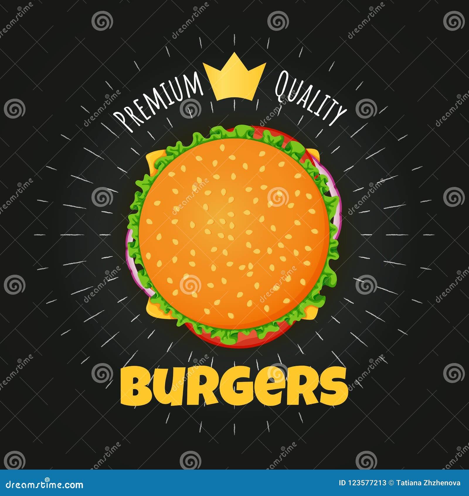 El cartel superior de la hamburguesa de la calidad, la etiqueta engomada con la corona de oro y la tiza irradia