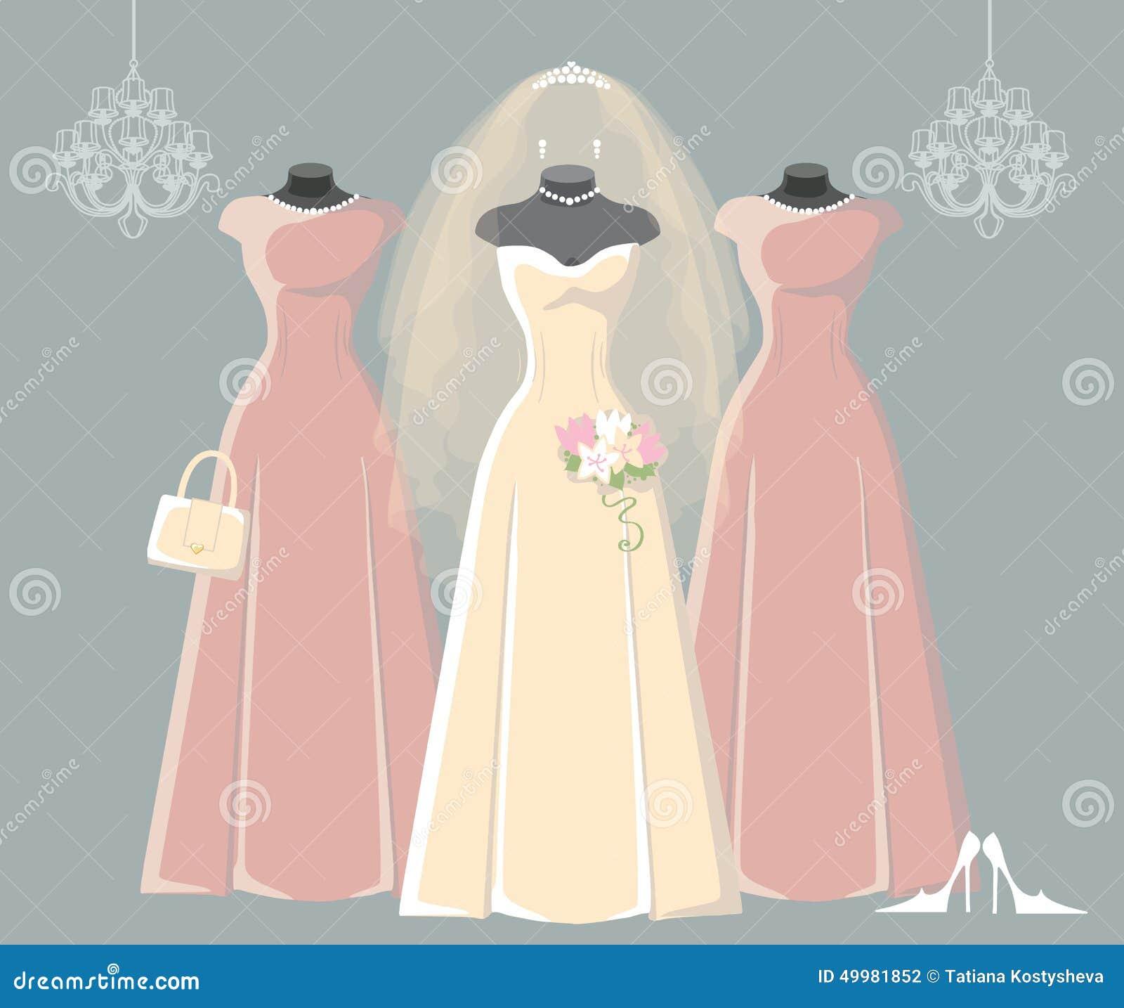 El Casarse Nupcial Y Vestidos De La Dama De Honor Fijados ...