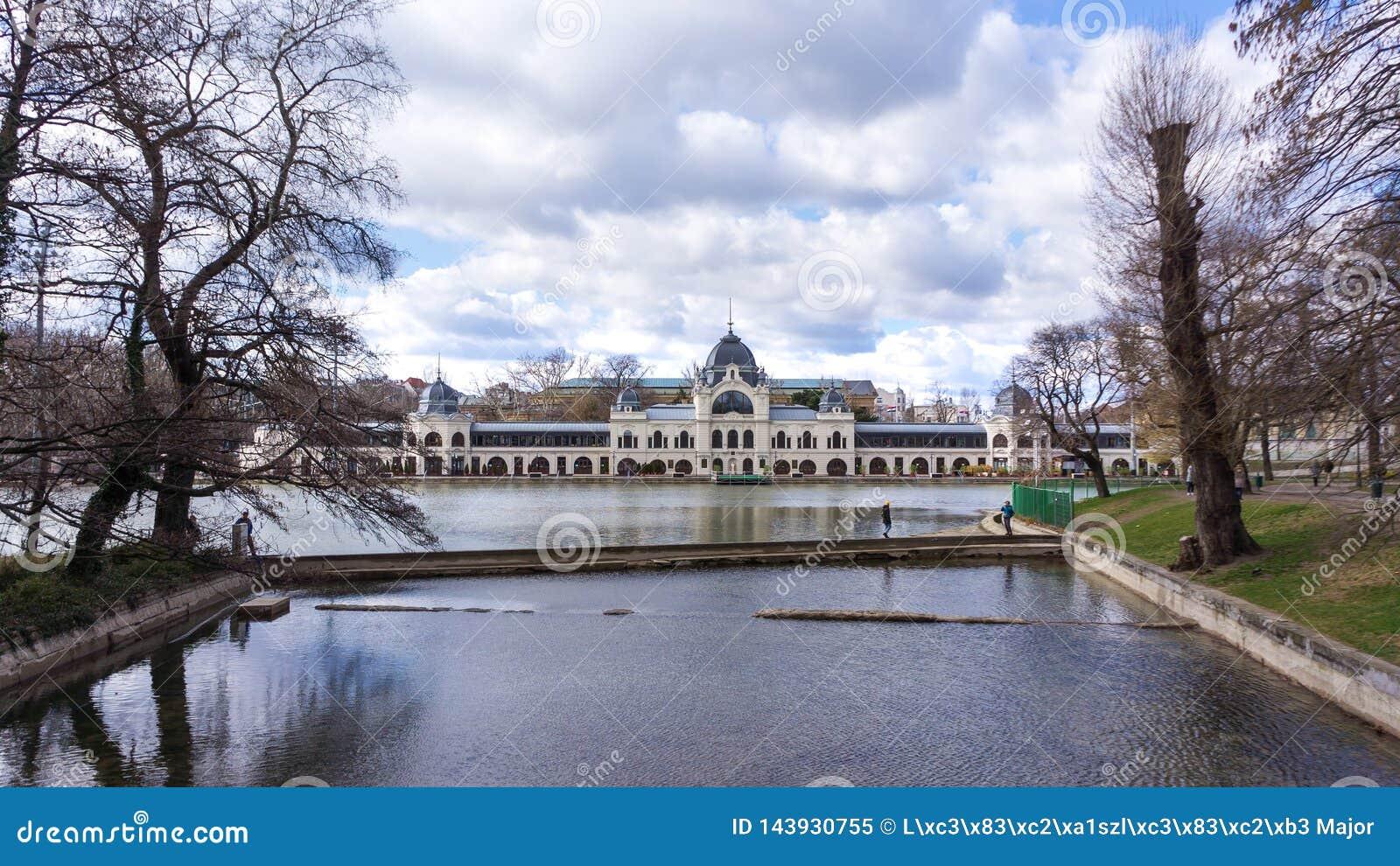 El castillo de Vajdahunyad es un castillo en el parque de la ciudad de Budapest, Hungr?a