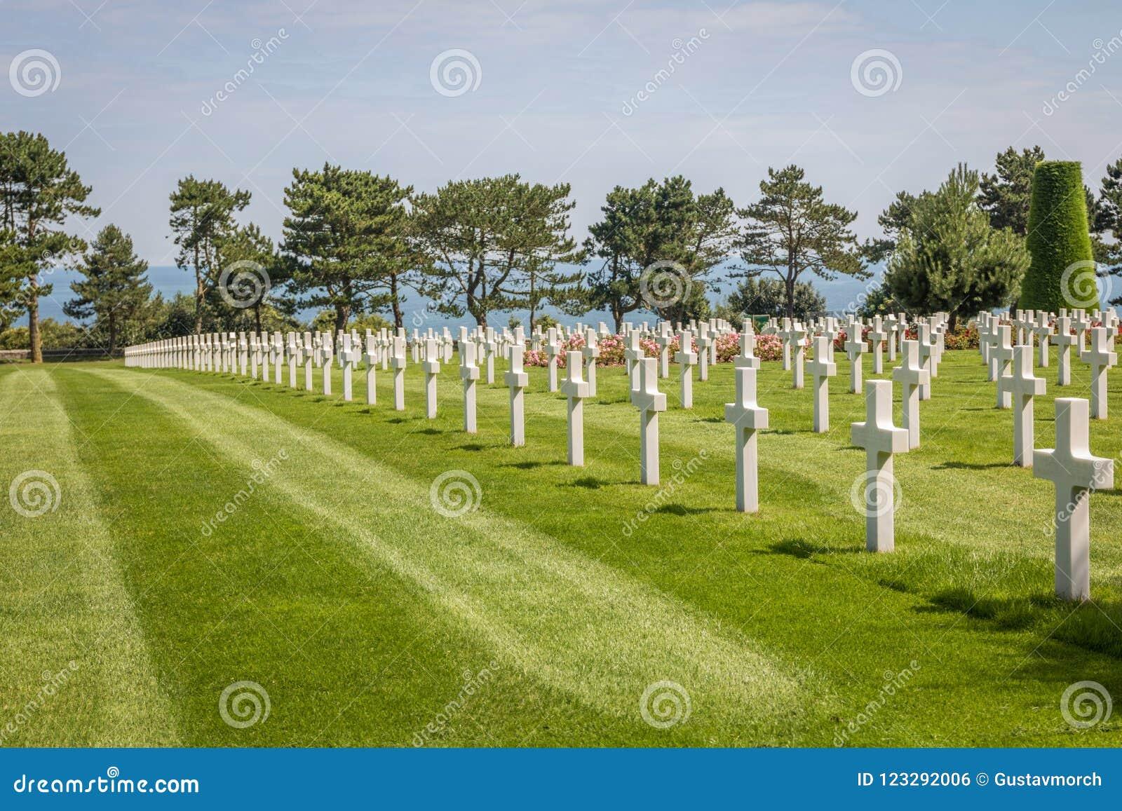 El cementerio americano de Normandía en la playa de Omaha, Normandía, Francia