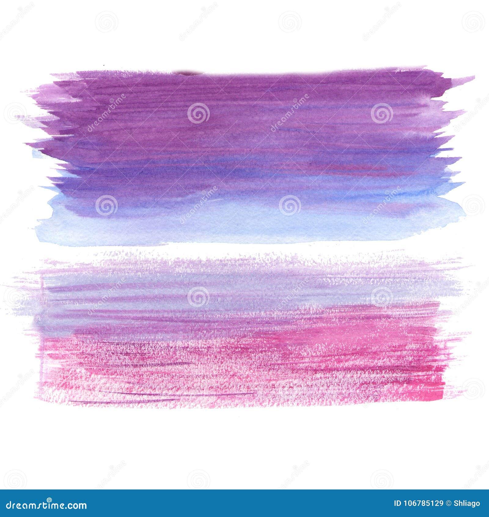 El cepillo rosado abstracto de la lila del arte pintó el ejemplo texturizado acuarela del fondo Diseñe para la bandera del título