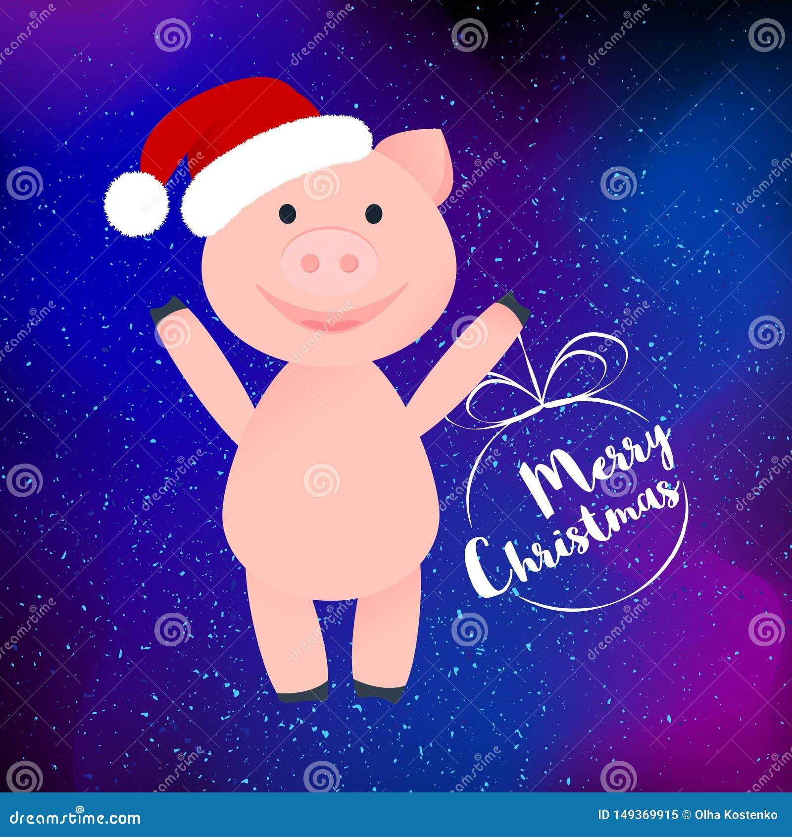 El cerdo feliz de la historieta en el sombrero de Santa Clauss aisló