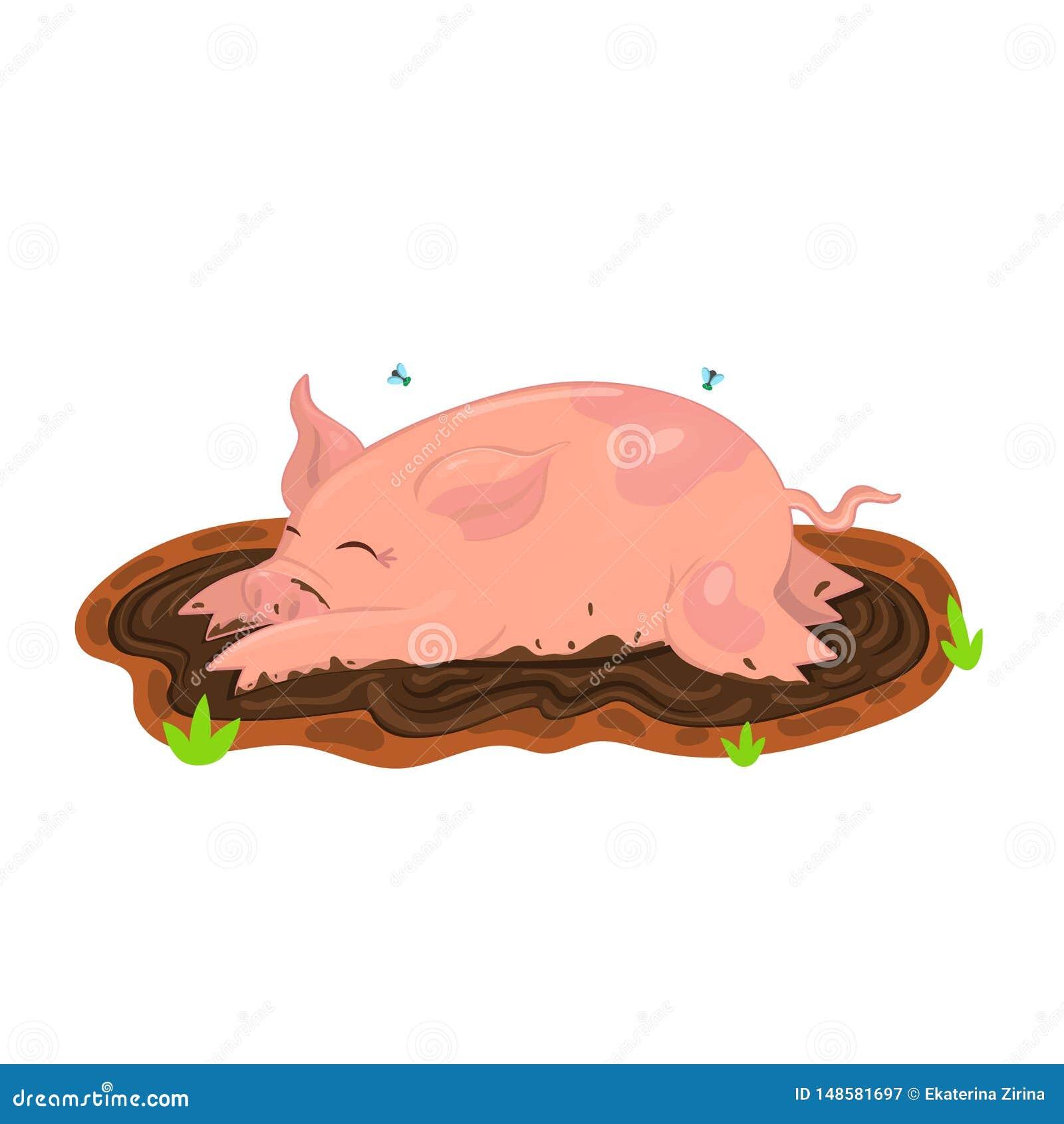El cerdo se baña en fango Ejemplo del vector del clip art Aislante en el fondo blanco