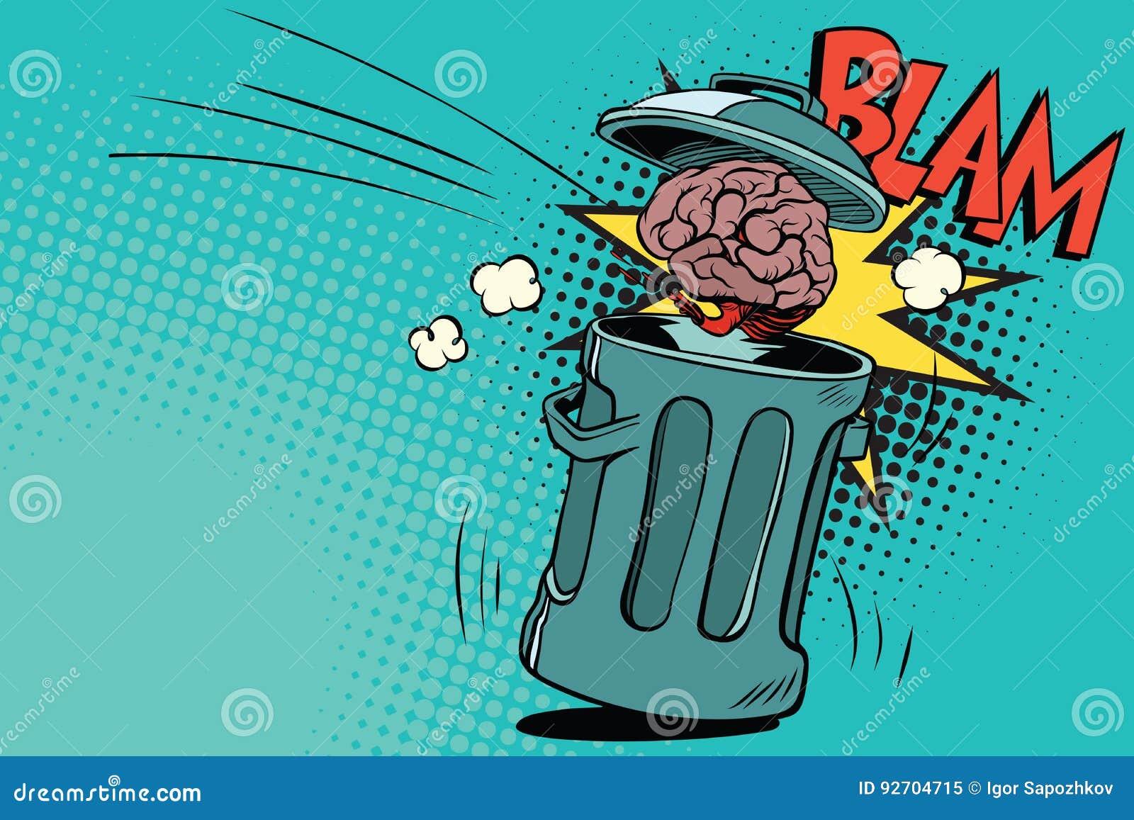 El Cerebro Humano Se Lanza En La Basura Ilustración del Vector ...