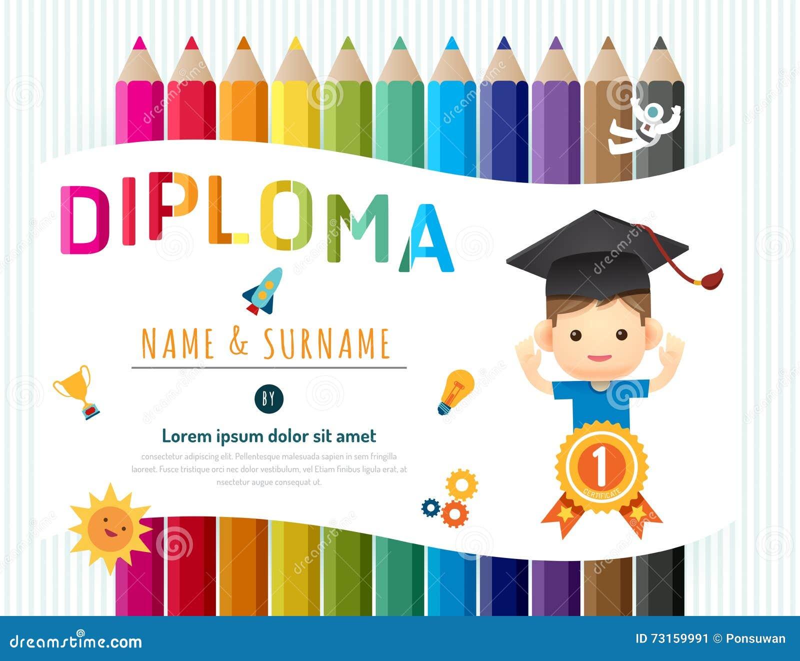 El certificado embroma el diploma, disposición de la plantilla de la guardería