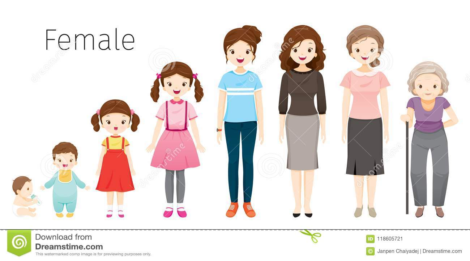 a9a30e8c8 Ser humano femenino de la forma de vida del desarrollo de la gente de la  edad