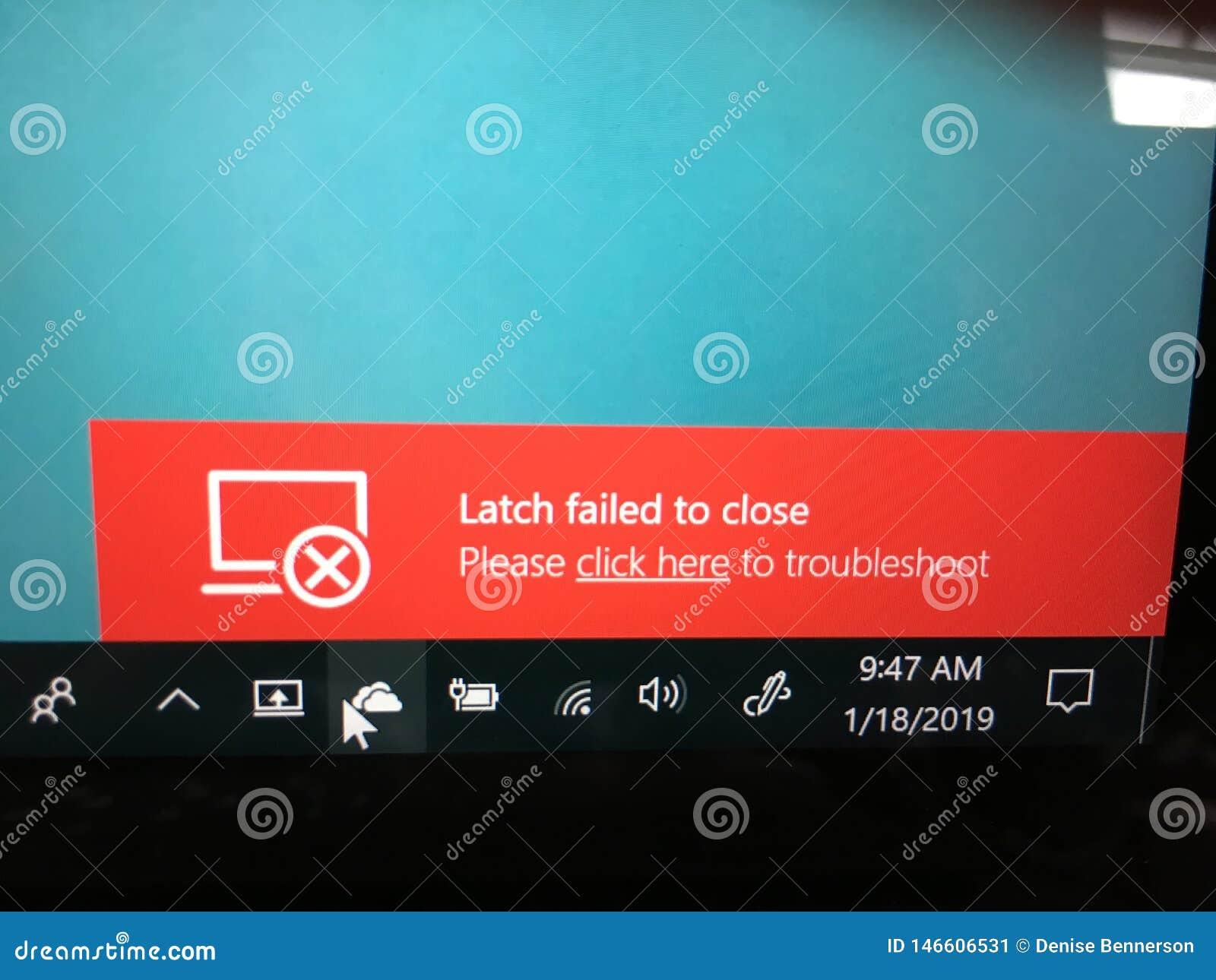 El cierre del ordenador portátil no podido para cerrarse localiza averías