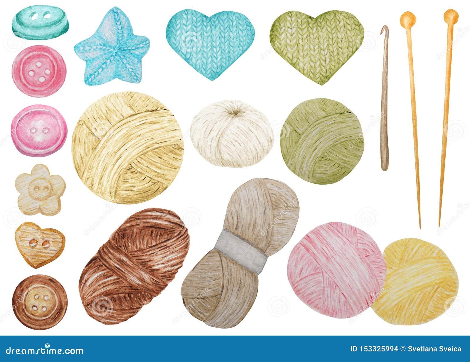 El clip Art Hobby Knitting de la acuarela y el croché, lana cuentan un cuento, abotonan el sistema lindo de Clipart Colección de