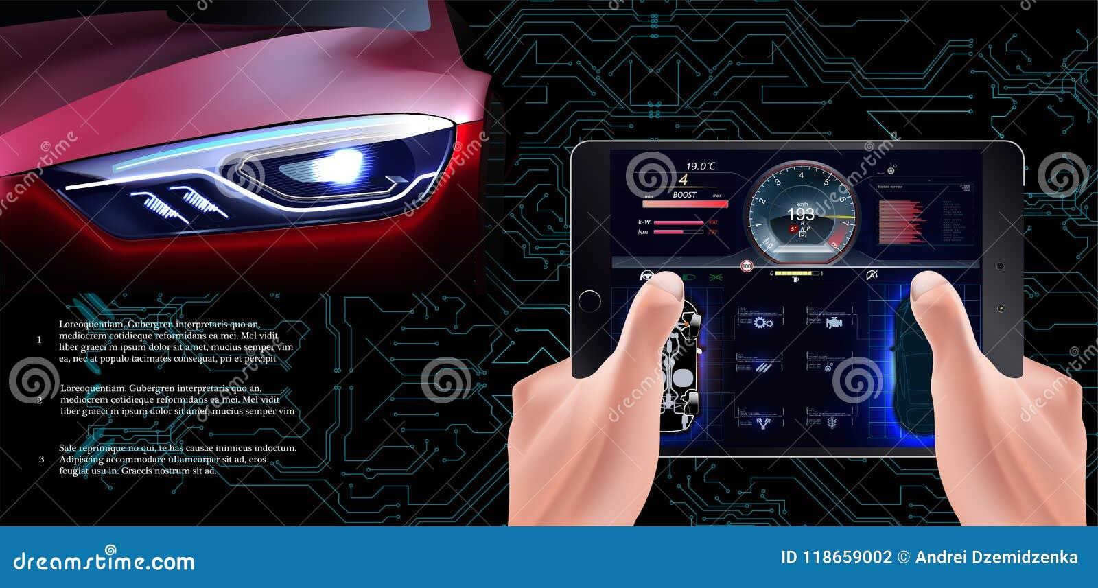 El coche rojo futurista en un fondo tecnológico Coche de la exploración,