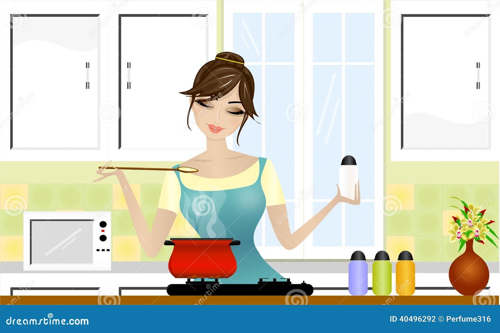 El Cocinar Hermoso De La Se 241 Ora Stock De Ilustraci 243 N