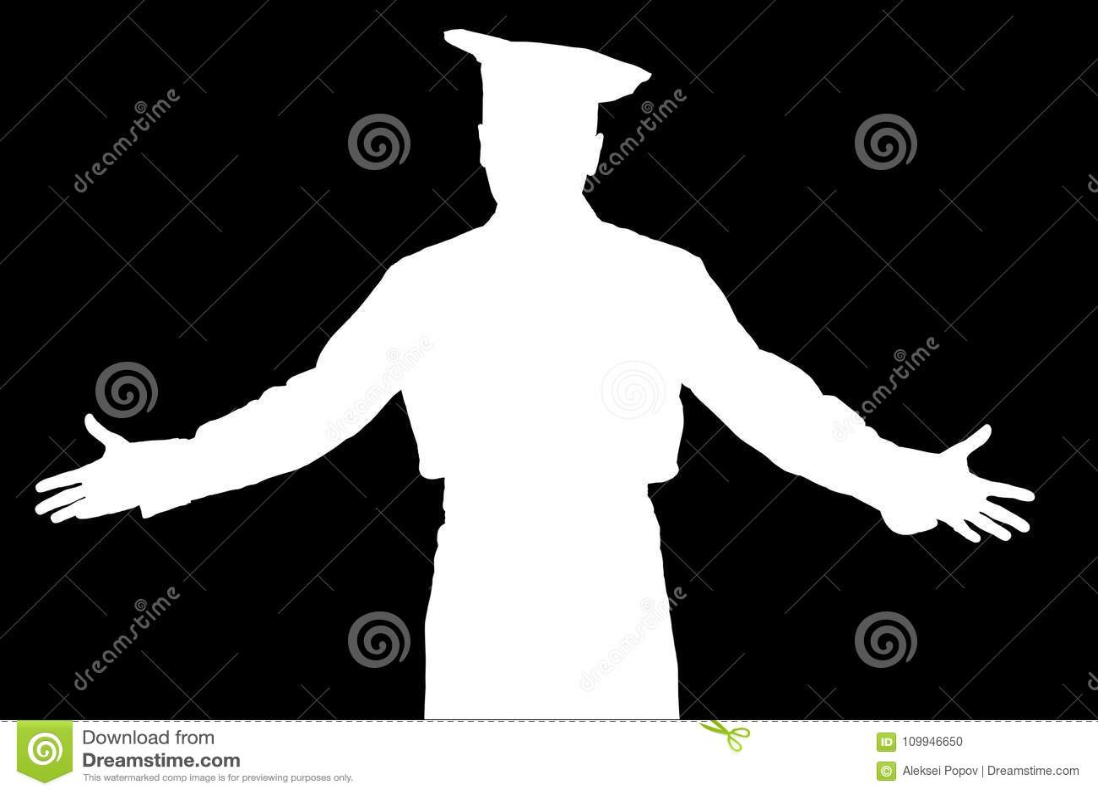 El cocinero invita a la mano al restaurante