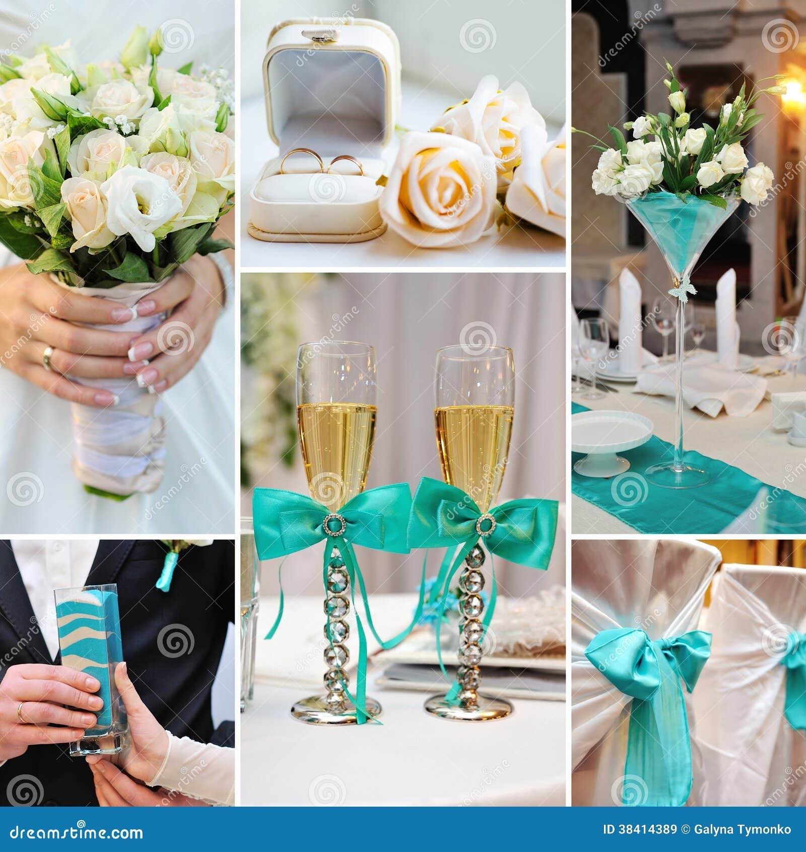 El collage de la boda representa decoraciones en la - Decoracion de interiores en color azul turquesa ...
