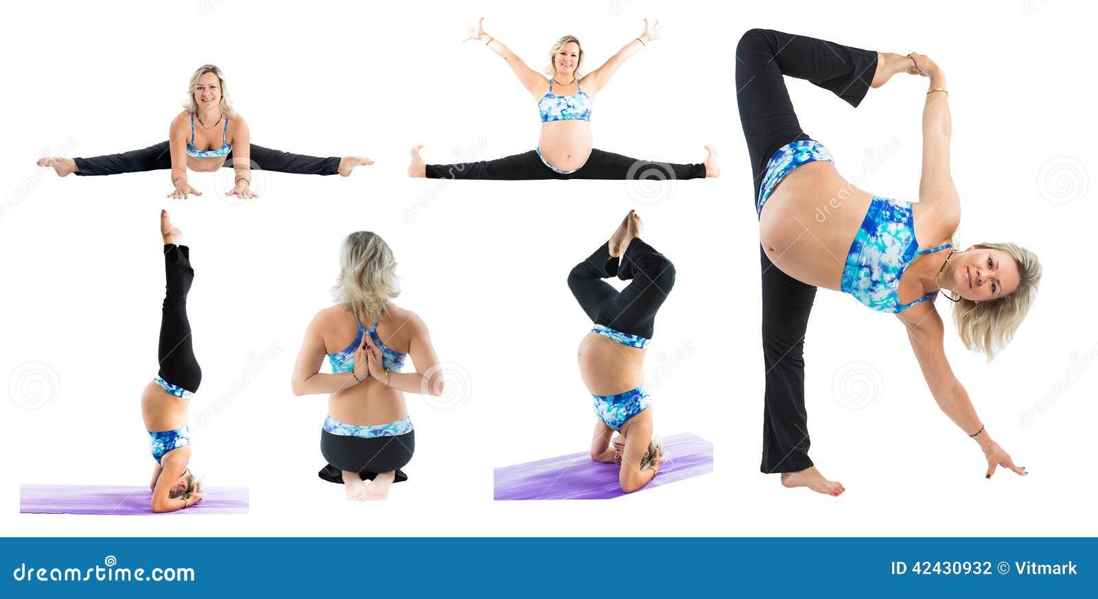 El collage de la mujer embarazada de la aptitud hace que el estiramiento en yoga y pilates presenta en el fondo blanco
