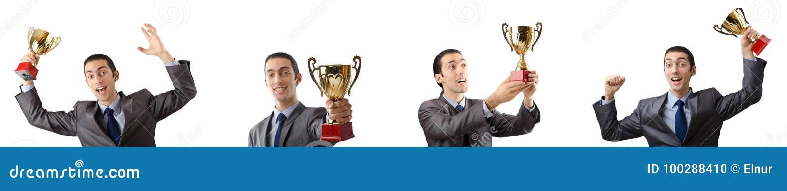 El collage del hombre de negocios que recibe el premio